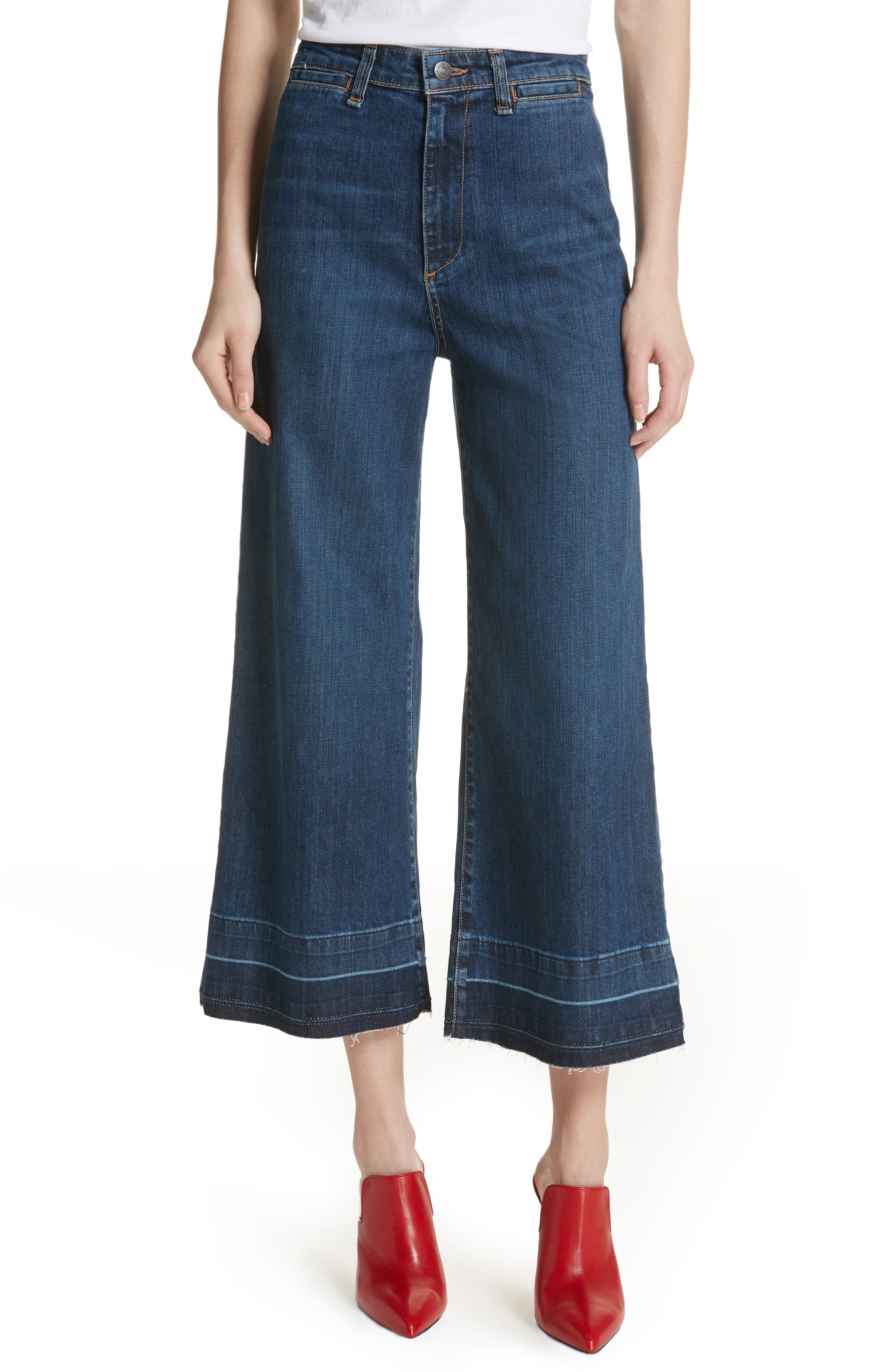 Ali High Waist Gaucho Jeans,                         Main,                         color, Vintage Wash