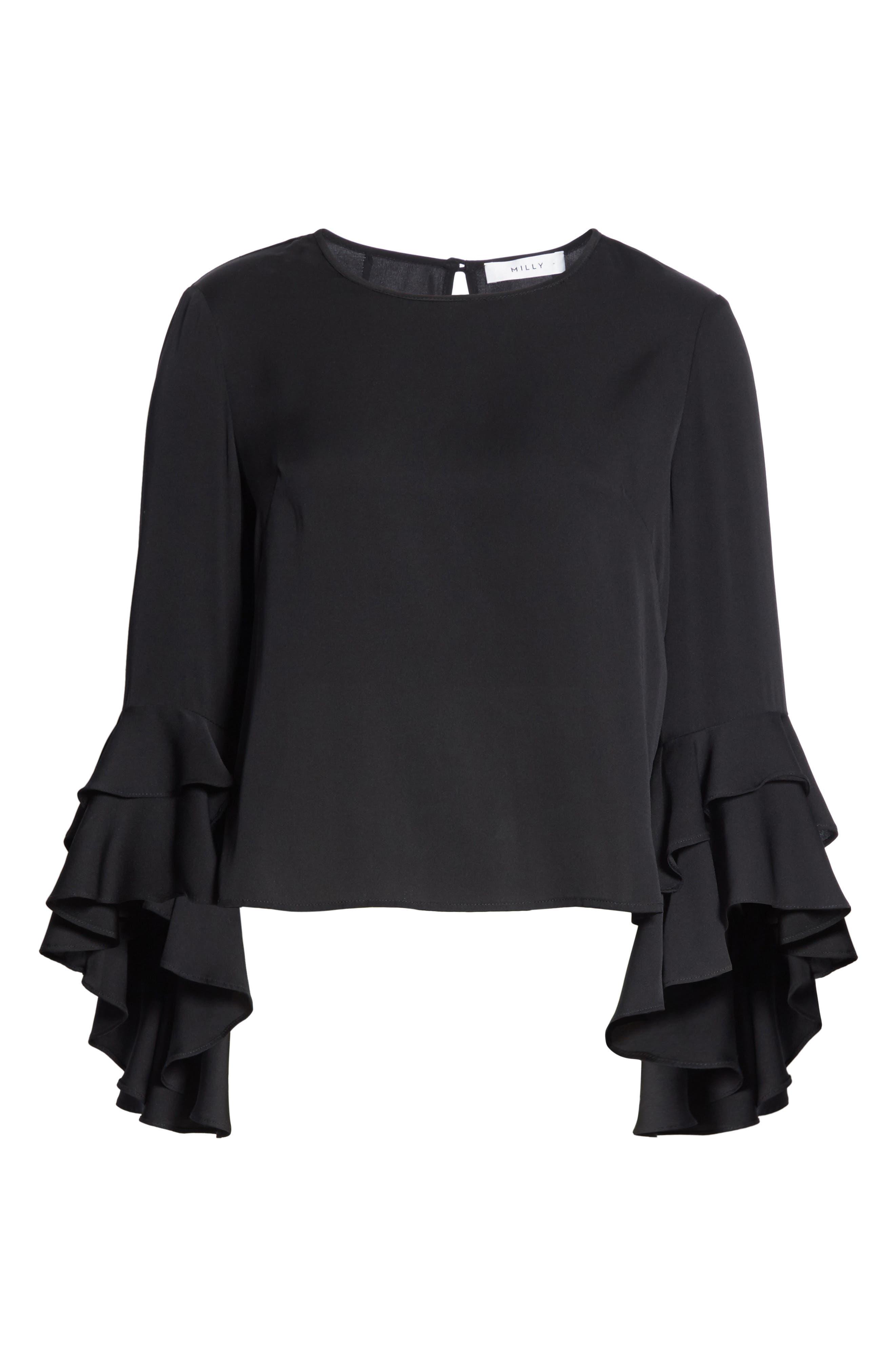 Gabby Bell Sleeve Silk Crepe Top,                             Alternate thumbnail 6, color,                             Black