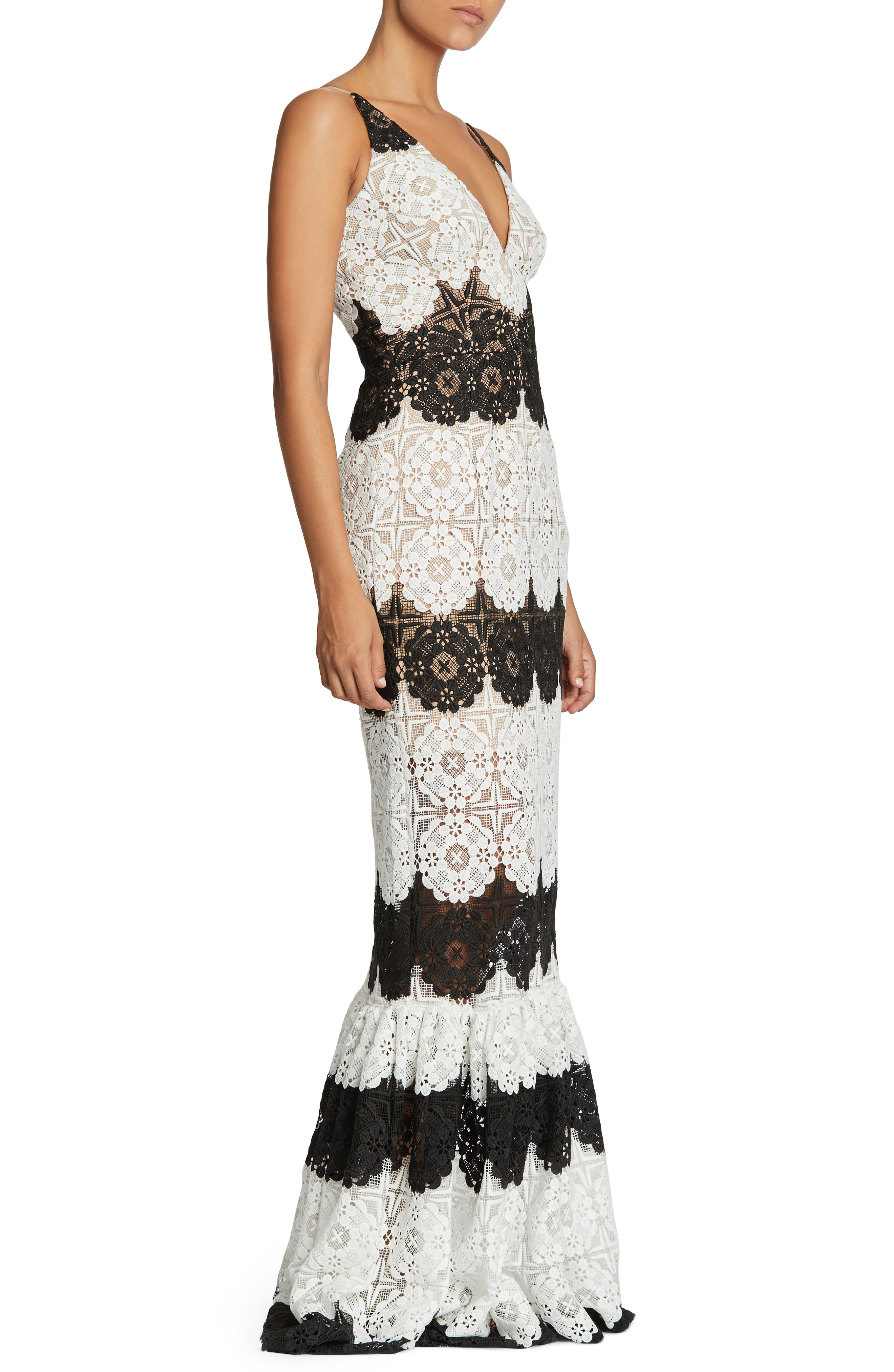 Candace Crochet Mermaid Gown,                             Alternate thumbnail 3, color,                             White/ Black