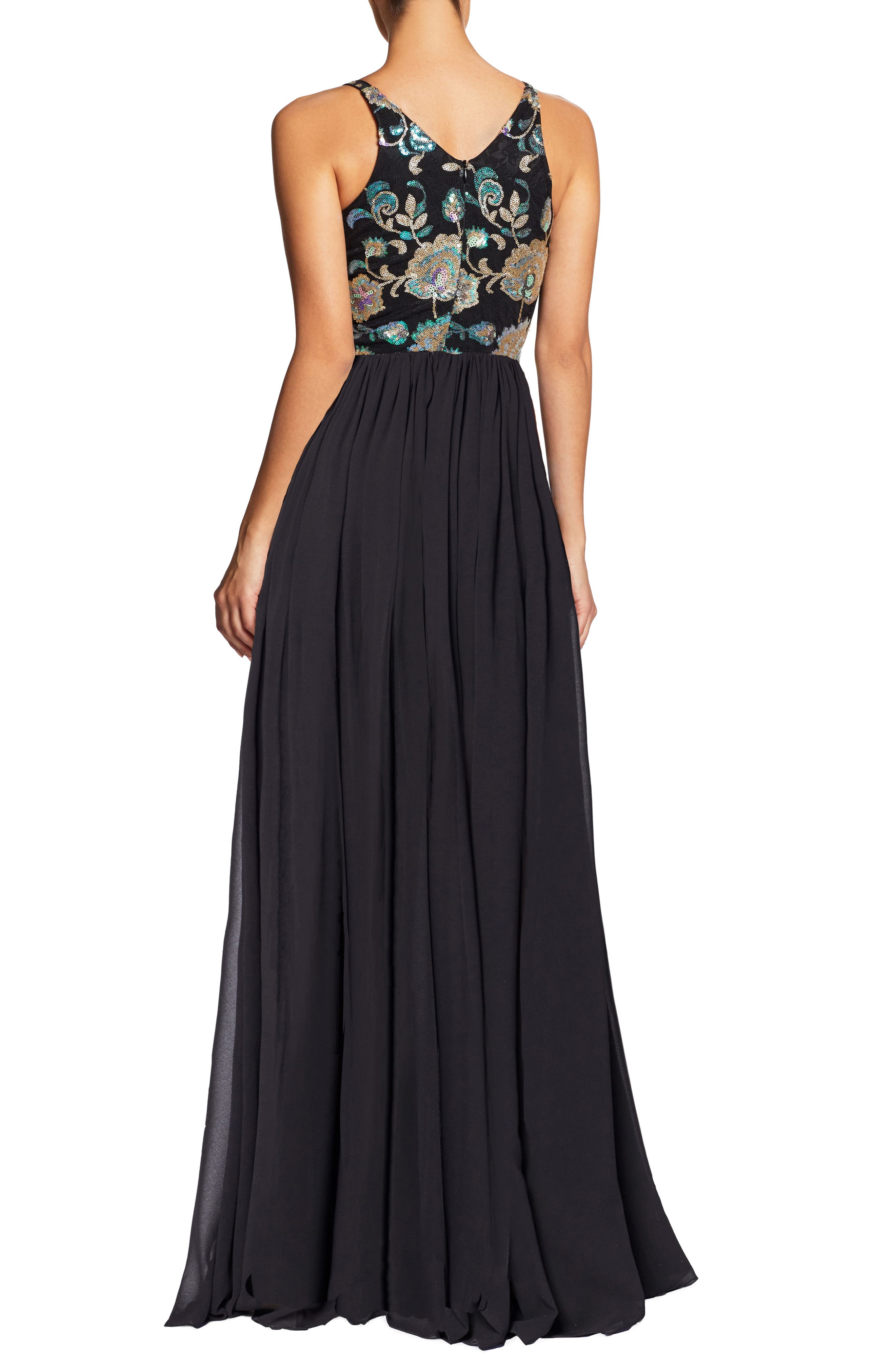 Adriana Sequin Bodice Gown,                             Alternate thumbnail 3, color,                             Black/ Iridescent Floral