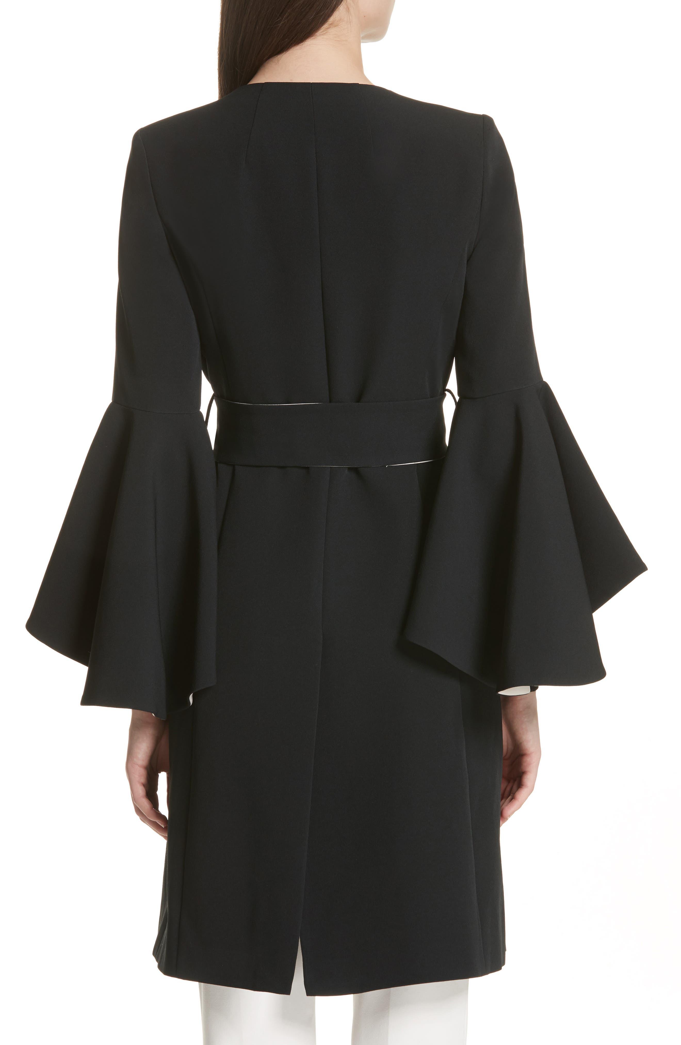 Selena Ruffle Sleeve Coat,                             Alternate thumbnail 2, color,                             Black/ Cream