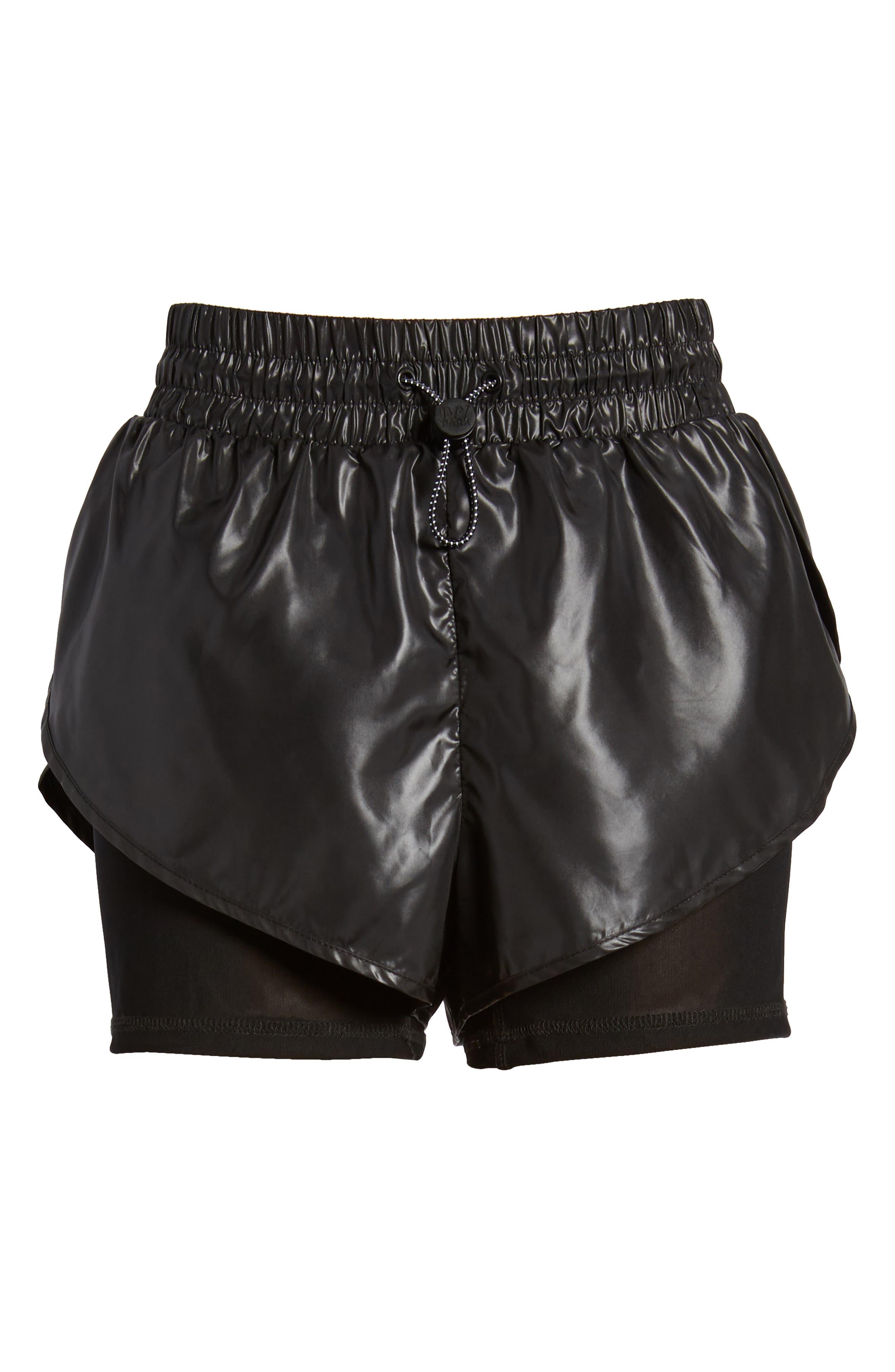 Hi Shine Double Layer Shorts,                             Alternate thumbnail 8, color,                             Black