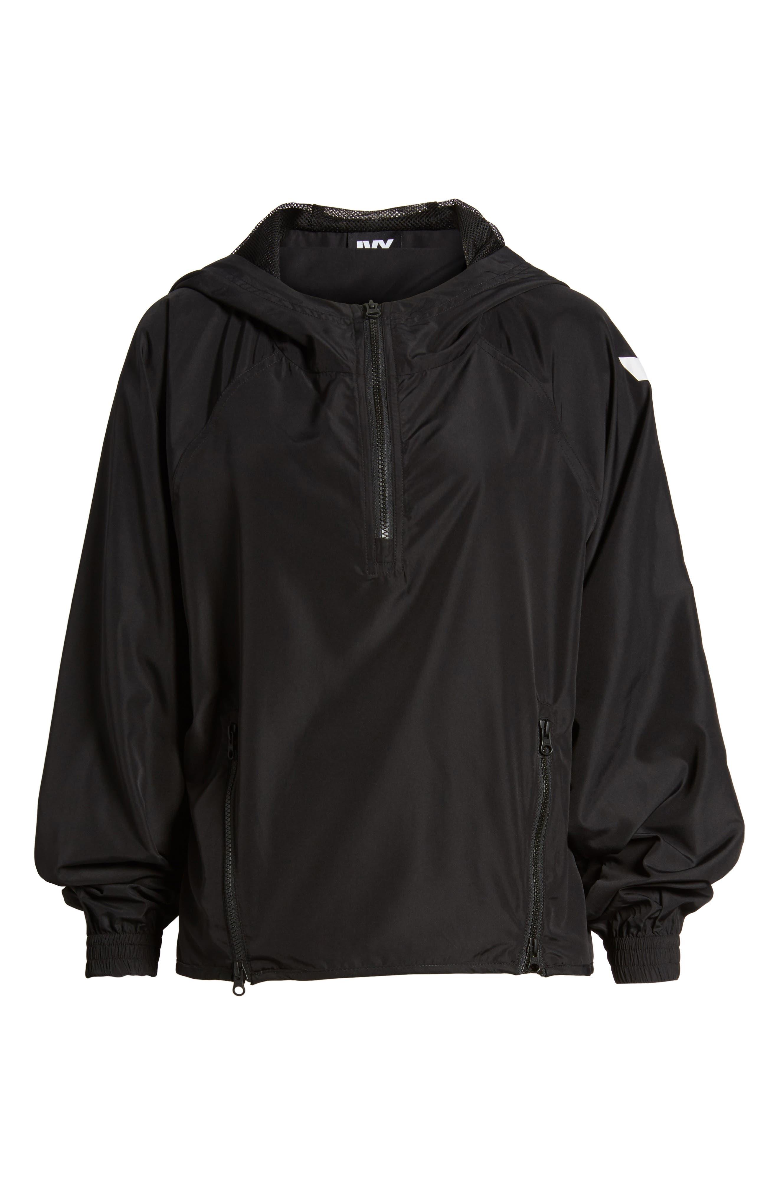 Quarter Zip Hooded Jacket,                             Alternate thumbnail 7, color,                             Black