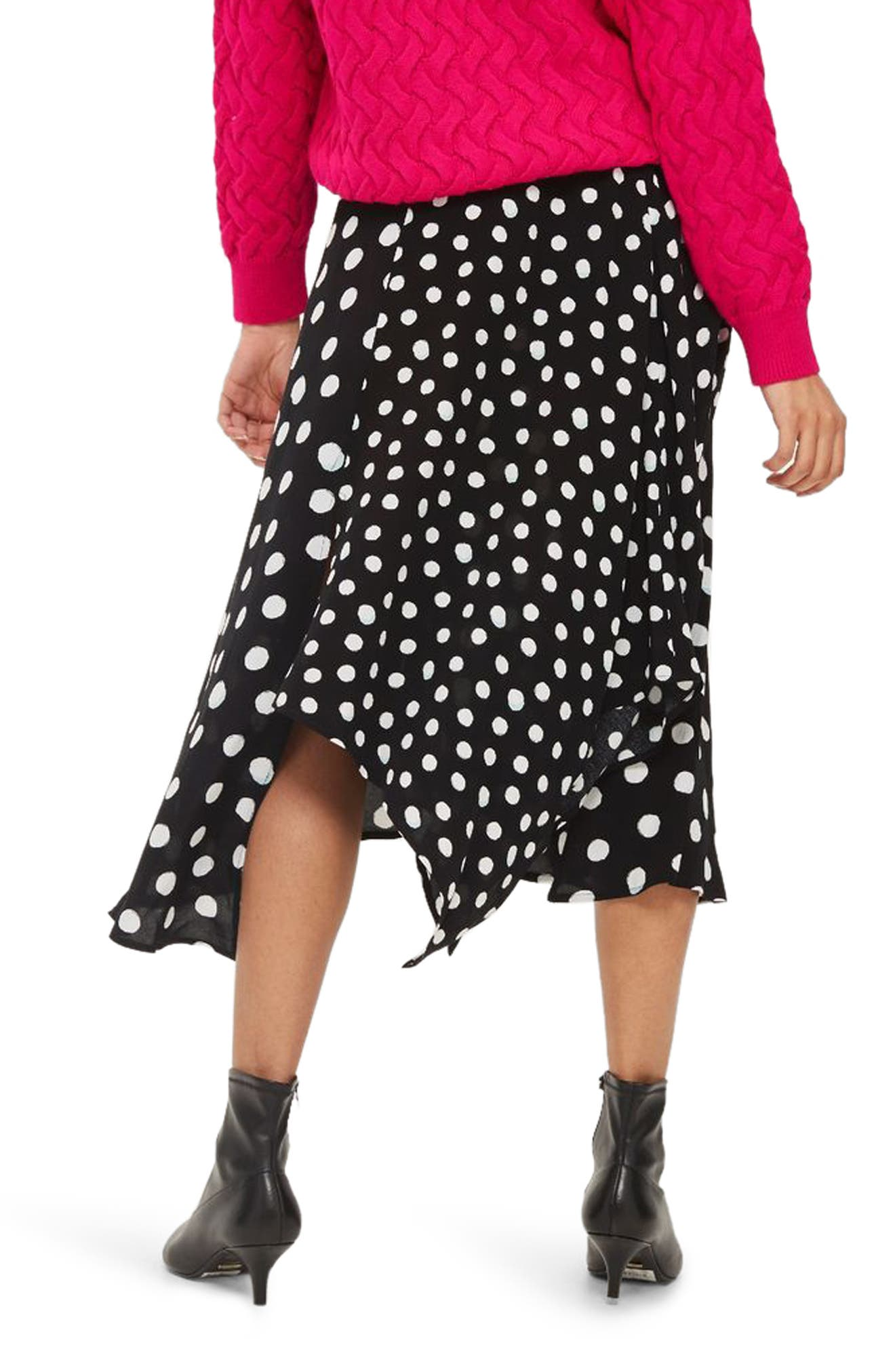 Polka Dot Handkerchief Hem Skirt,                             Alternate thumbnail 2, color,                             Black Multi