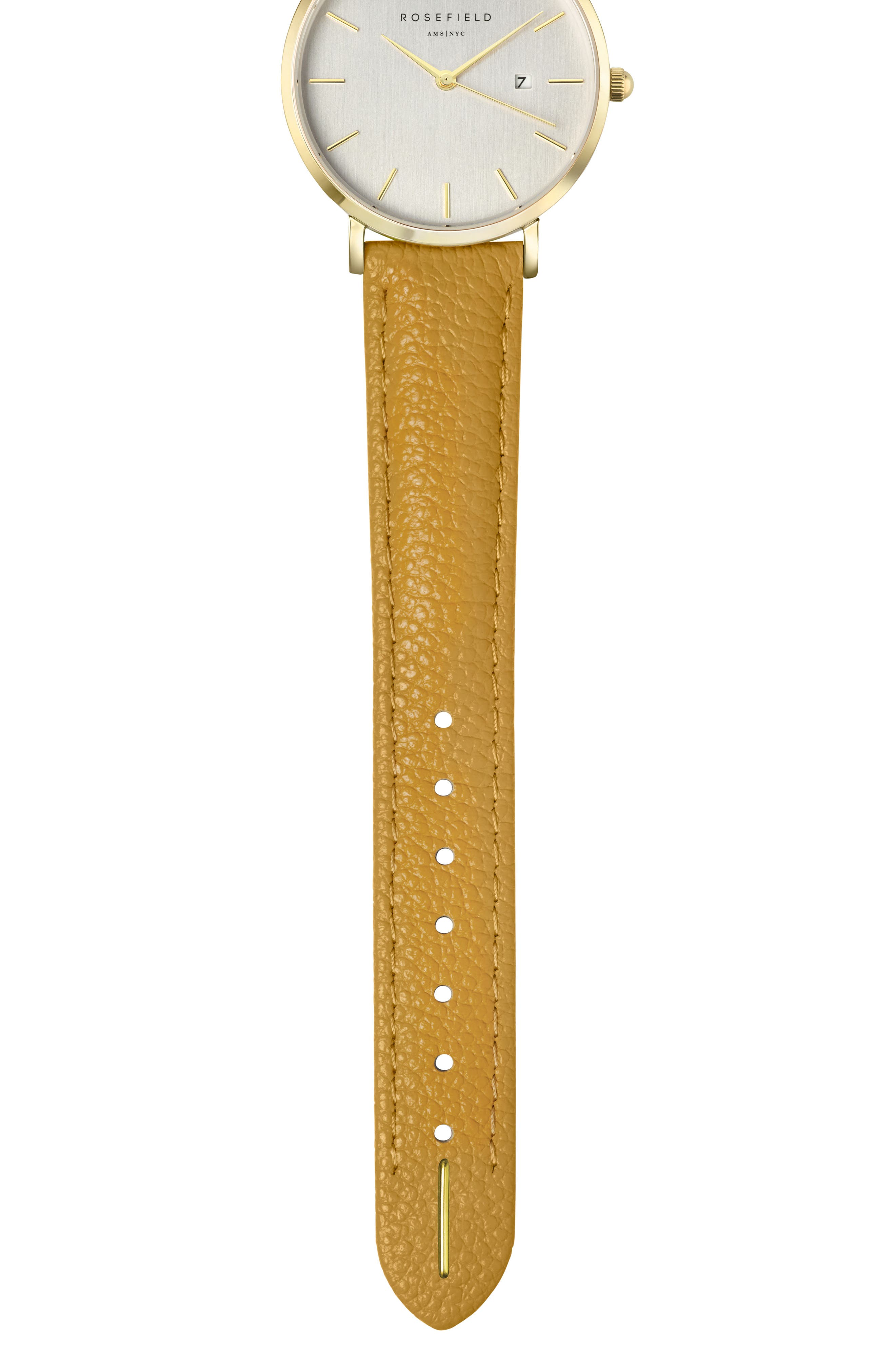 The September Issue Leather Strap Watch, 33mm,                             Alternate thumbnail 3, color,                             Yellow/ Gold