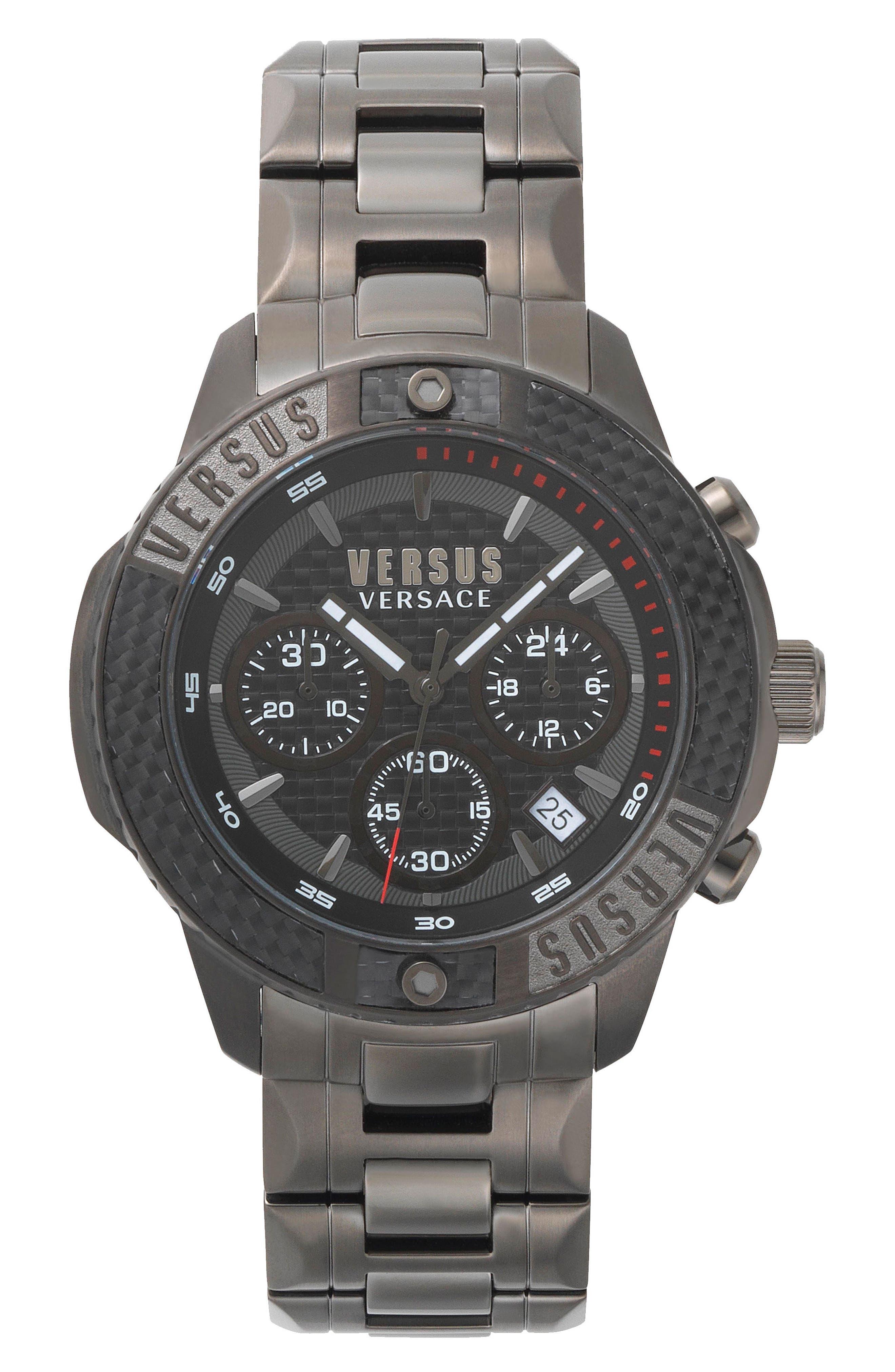 VERSUS by Versace Admiralty Chronograph Bracelet Watch, 44mm,                         Main,                         color, Gunmetal/ Black/ Gunmetal
