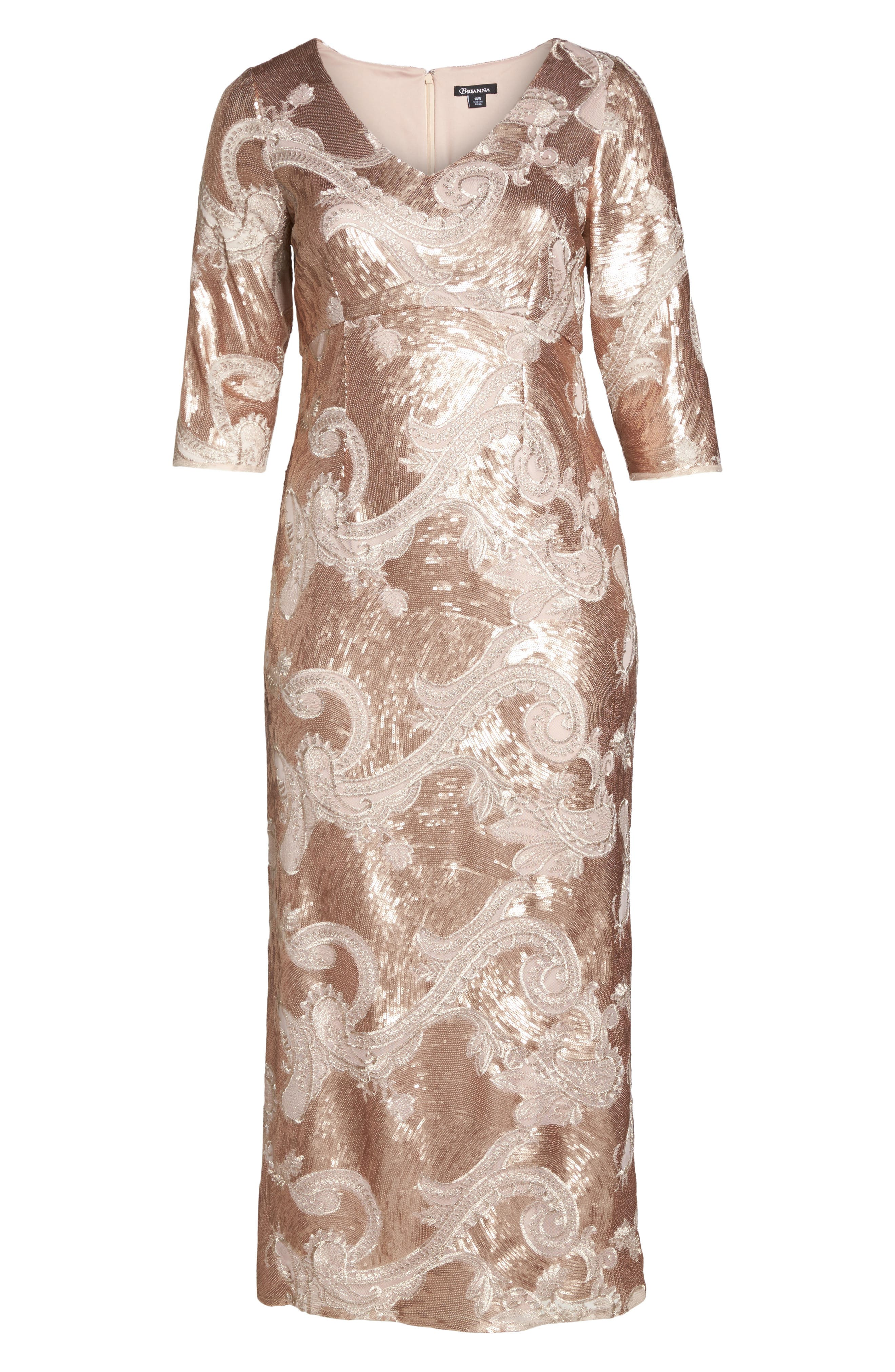 Sequin Lace Empire Gown,                             Alternate thumbnail 6, color,                             Rose Gold