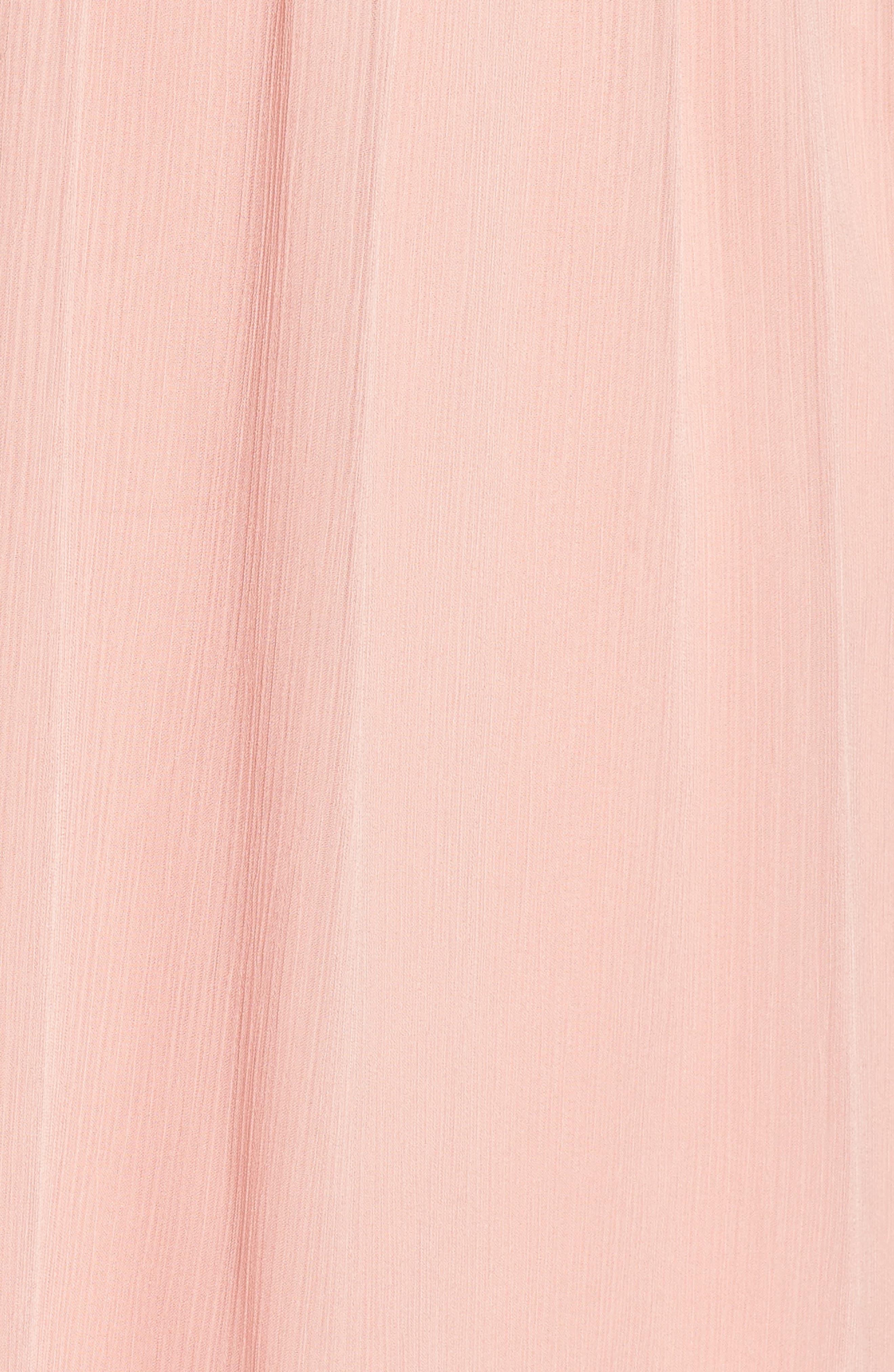 Satin Trim Crinkle Dress,                             Alternate thumbnail 5, color,                             Blush