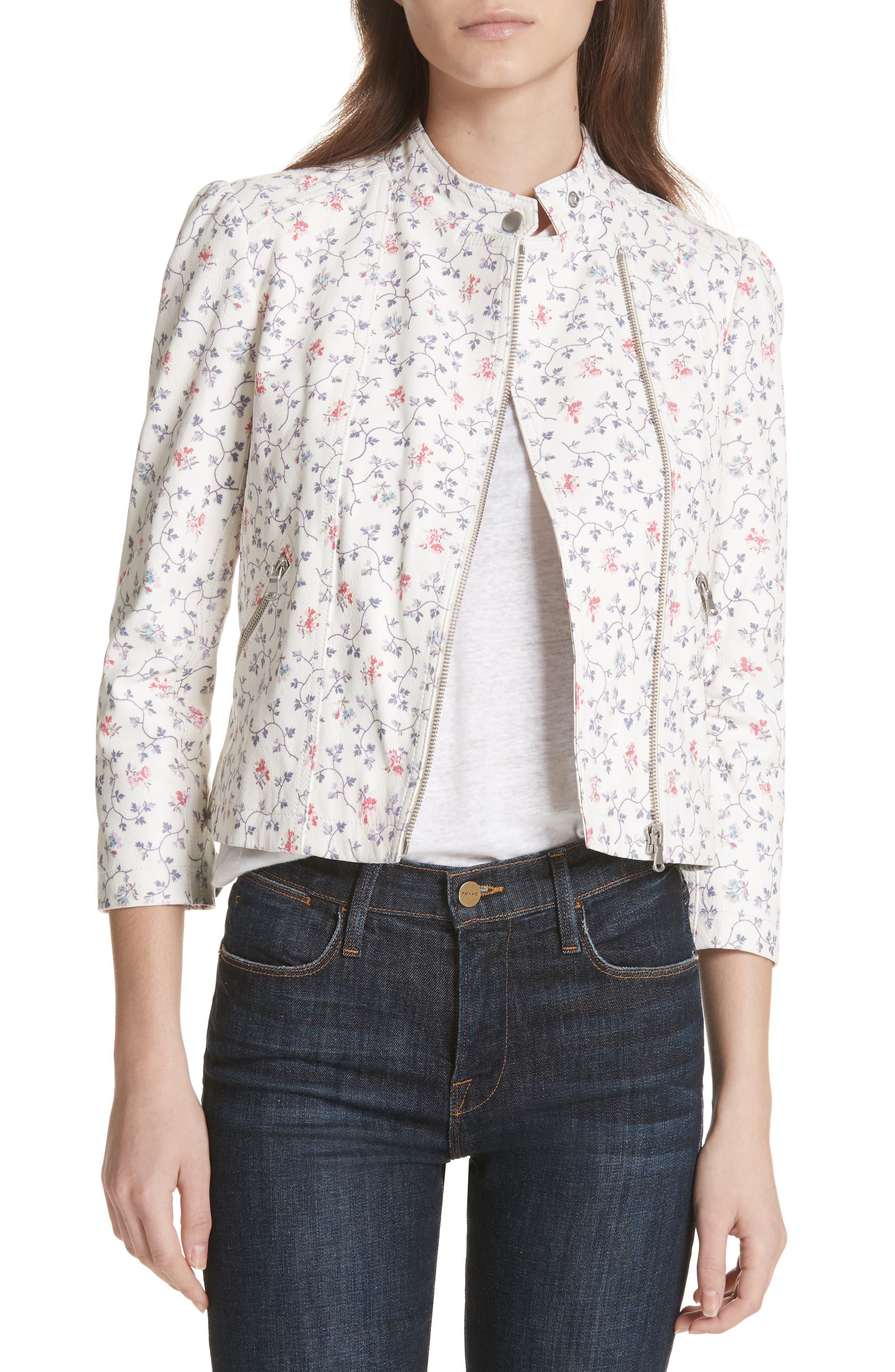 Floral Vine Leather Jacket,                         Main,                         color, Vanilla