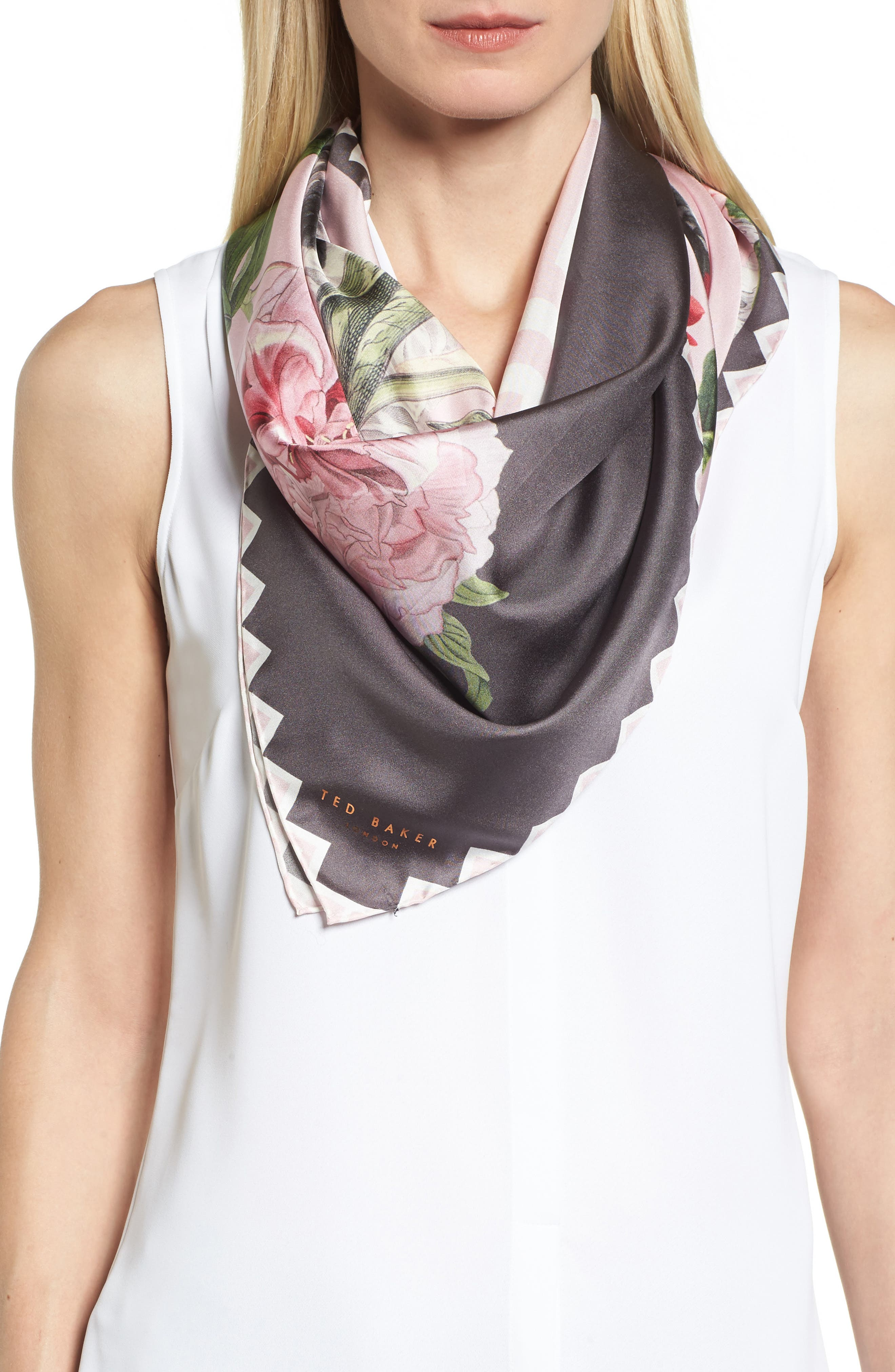 Palace Gardens Square Silk Scarf,                             Main thumbnail 1, color,                             Dusky Pink