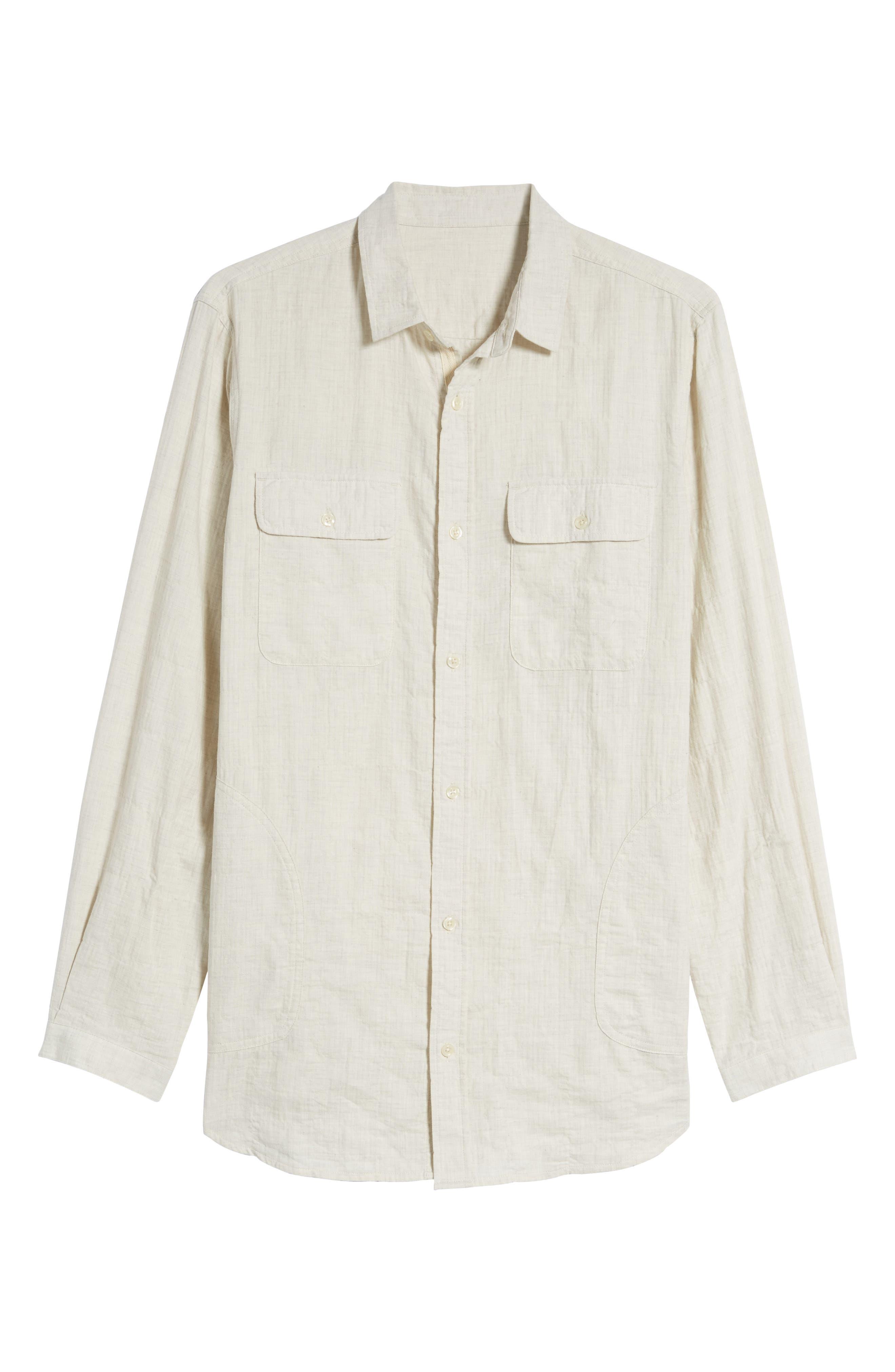 Herringbone Longline Shirt,                             Alternate thumbnail 7, color,                             Ivory Egret Herringbone