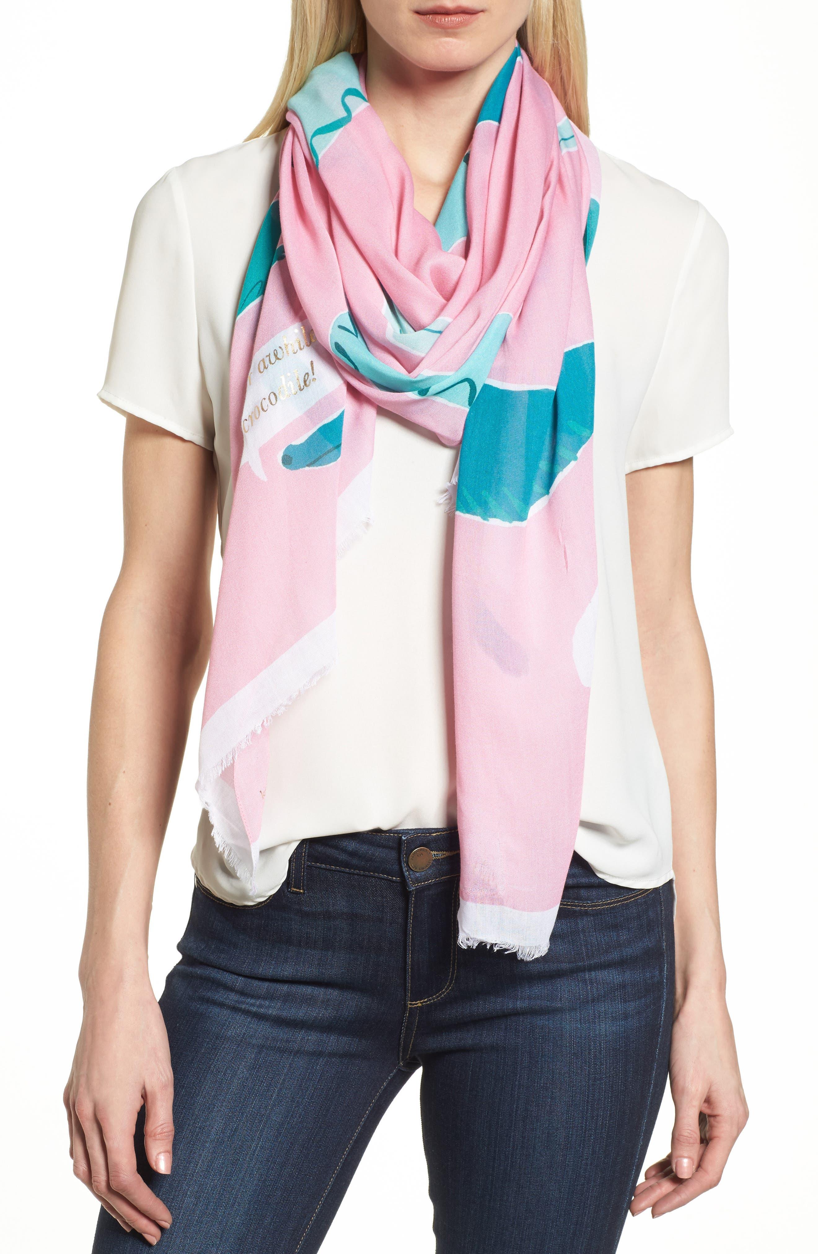 alligator scarf,                             Main thumbnail 1, color,                             Pink Majolica