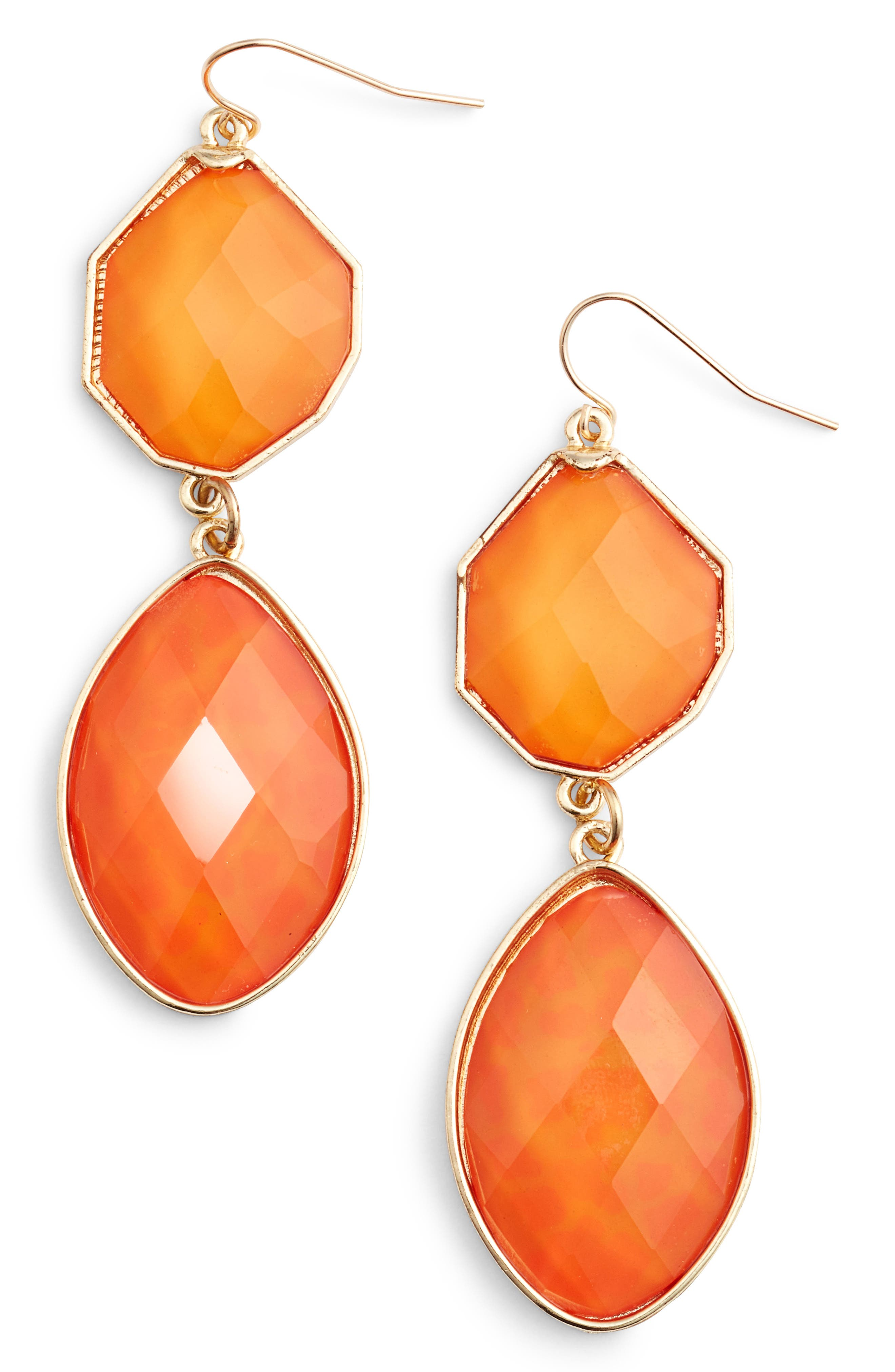 ADIA KIBUR Stone Drop Earrings in Orange/ Peach