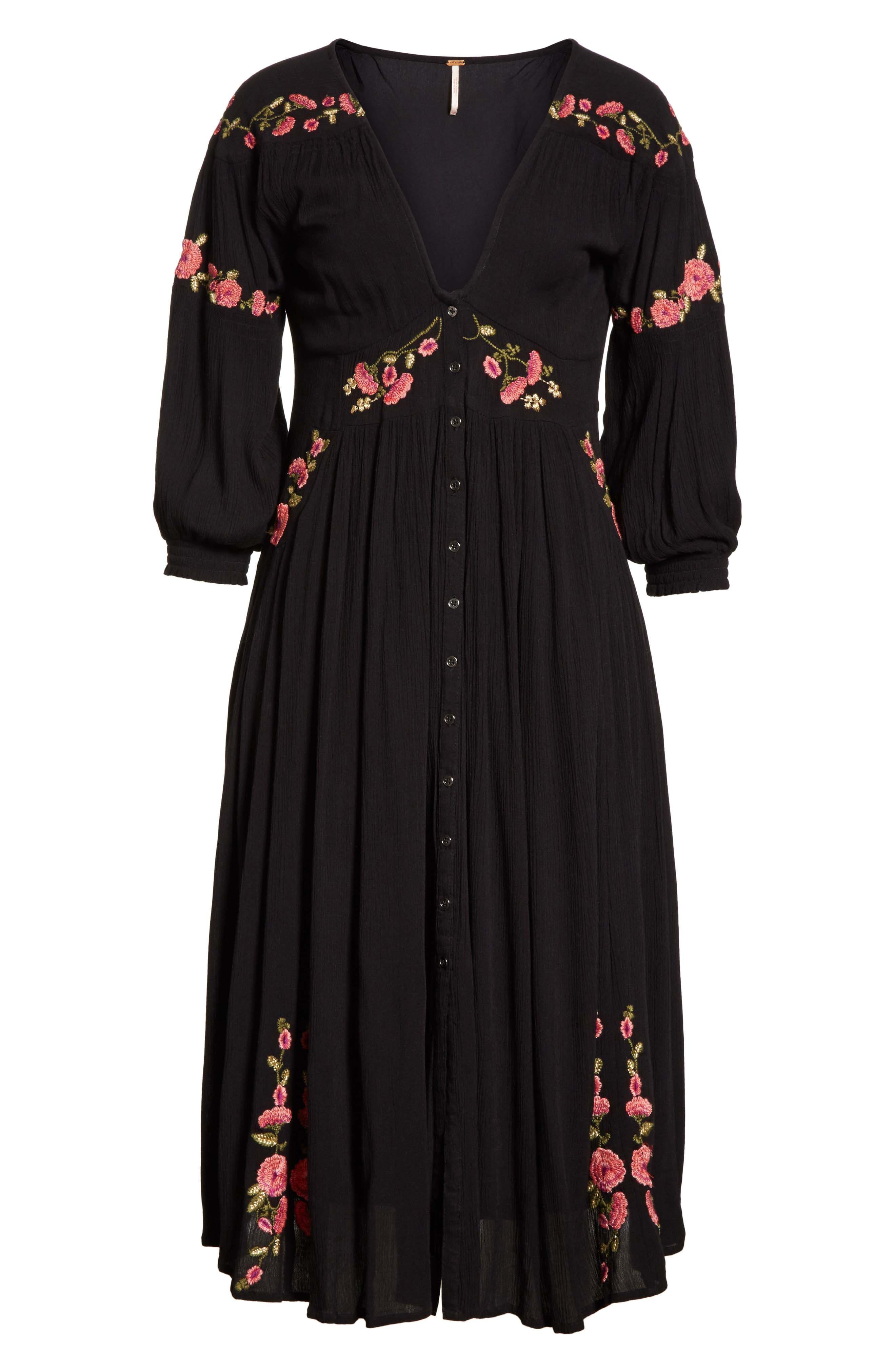 Day Glow Midi Dress,                             Alternate thumbnail 6, color,                             Black Combo