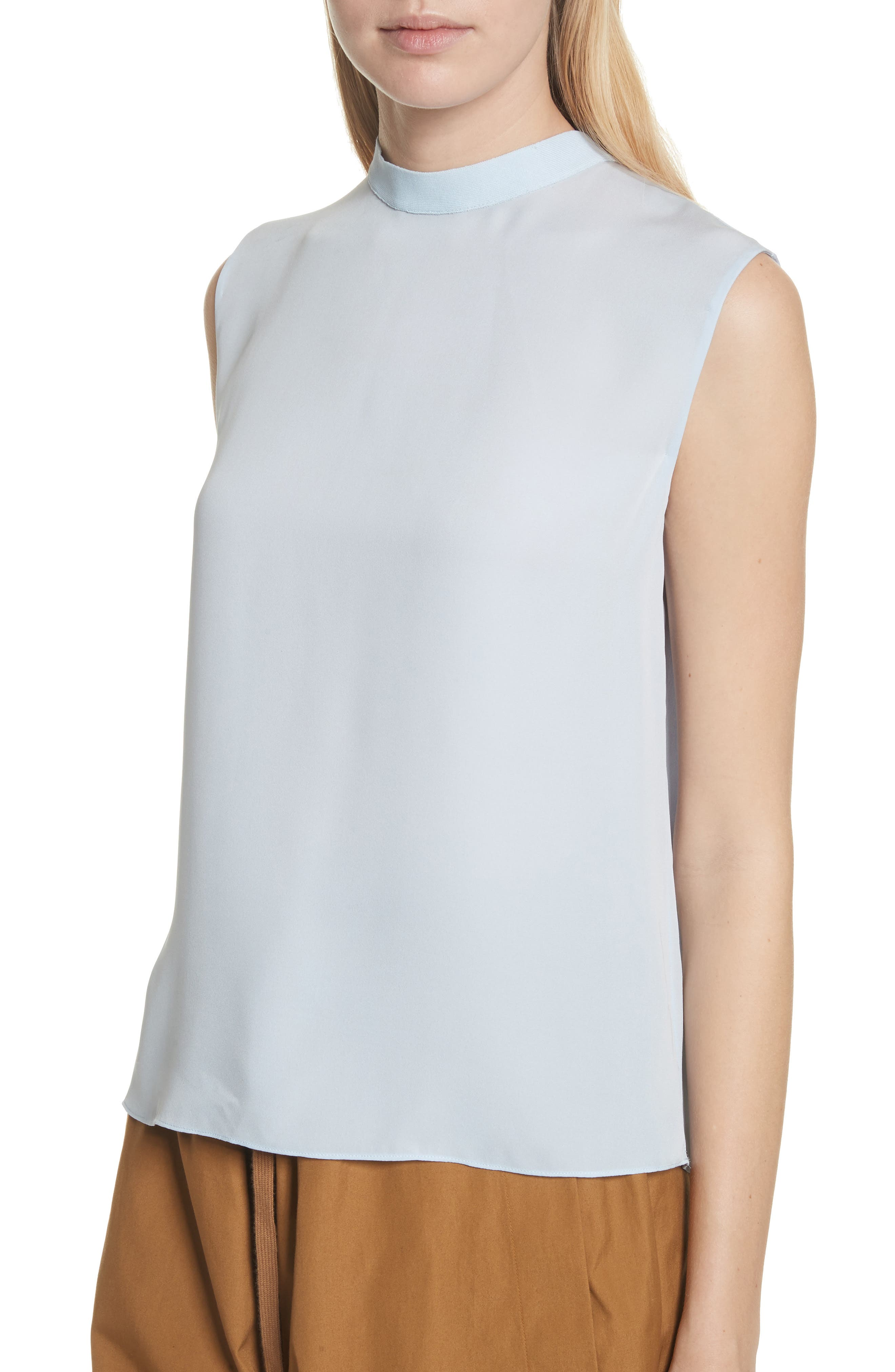 Mock Neck Silk Shell,                             Alternate thumbnail 4, color,                             Powder Blue