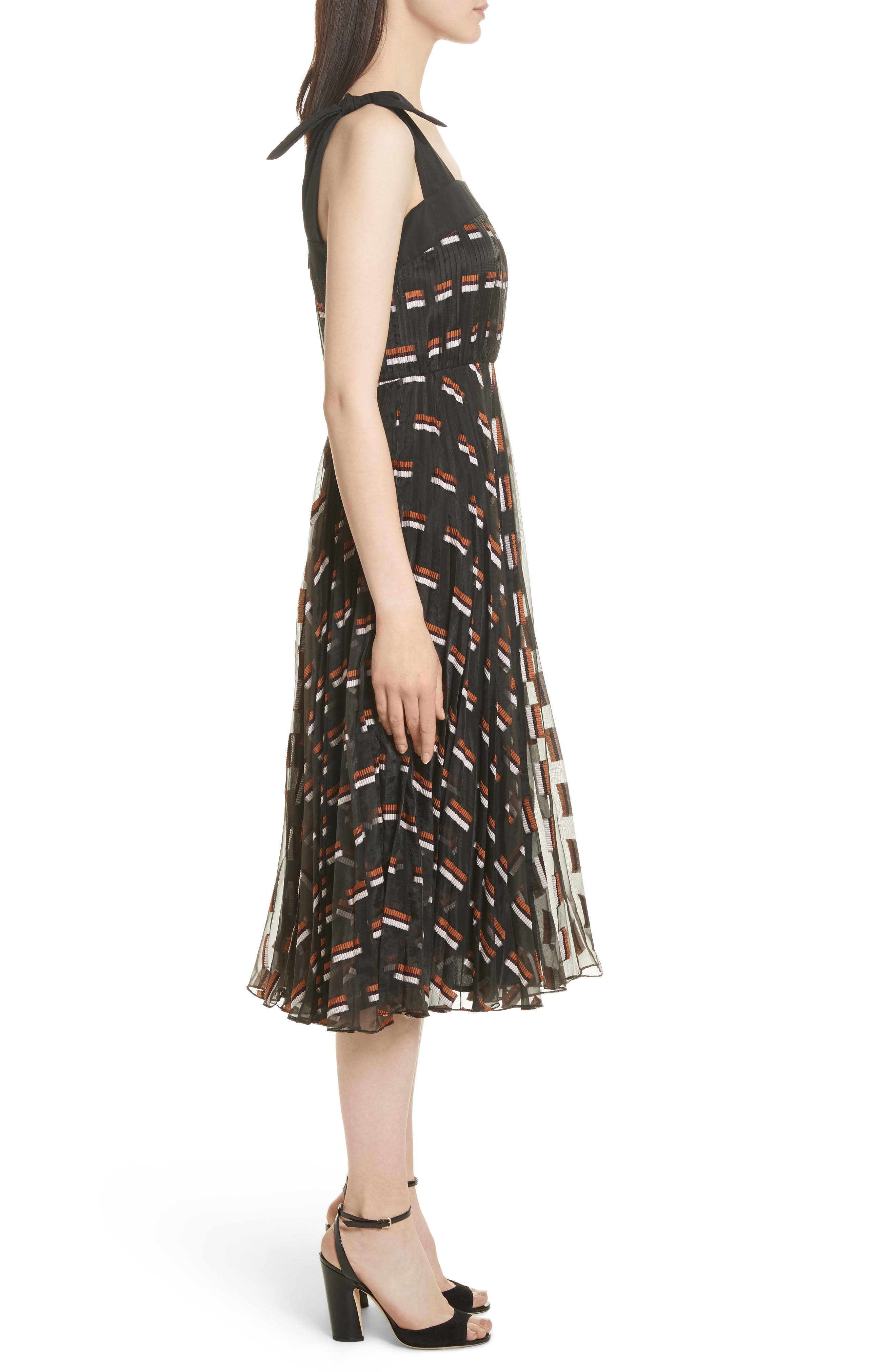 Fil Coupé Midi Dress,                             Alternate thumbnail 3, color,                             Ginger Multi