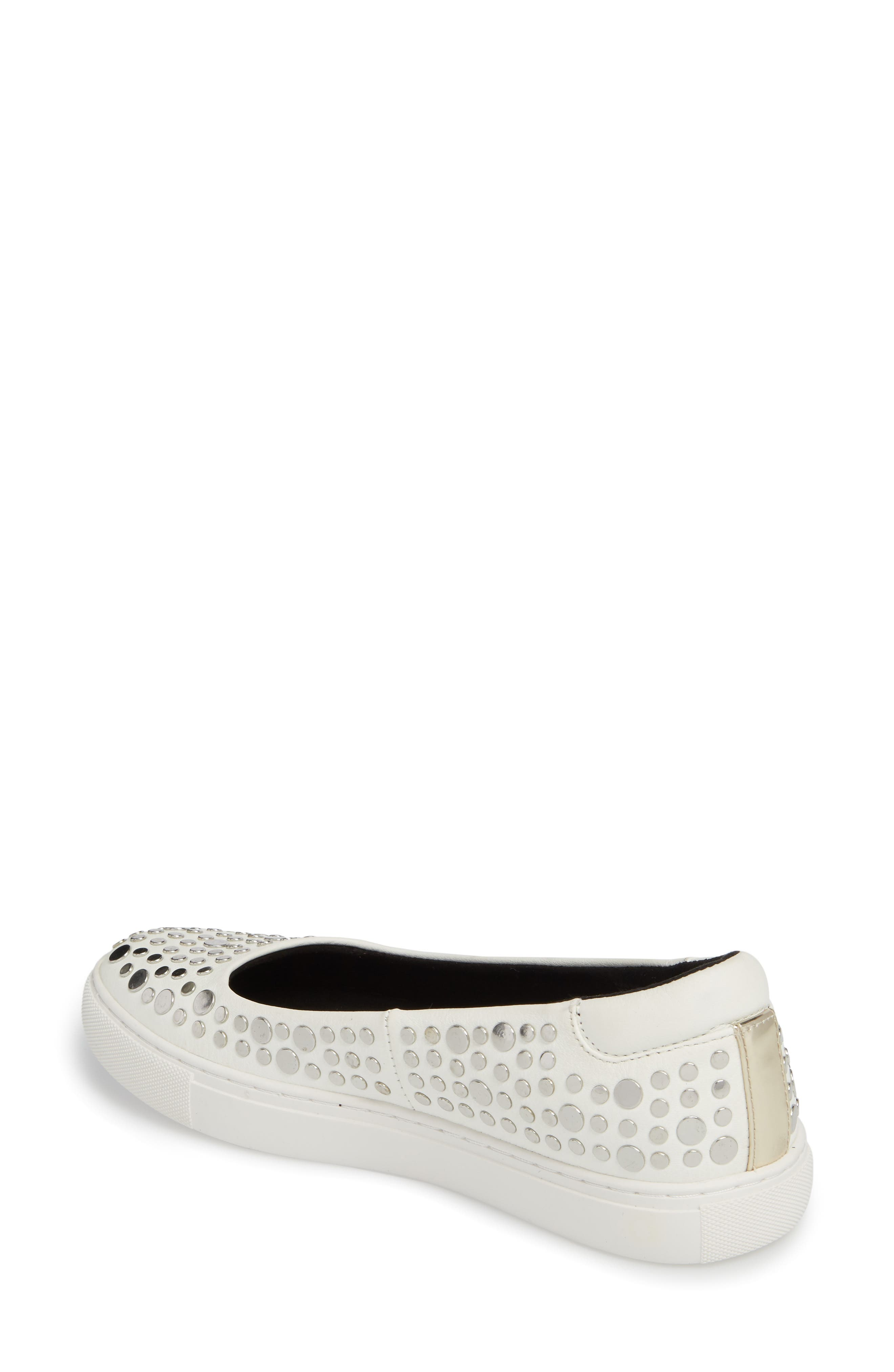 Kassie Studded Flat,                             Alternate thumbnail 2, color,                             White Leather