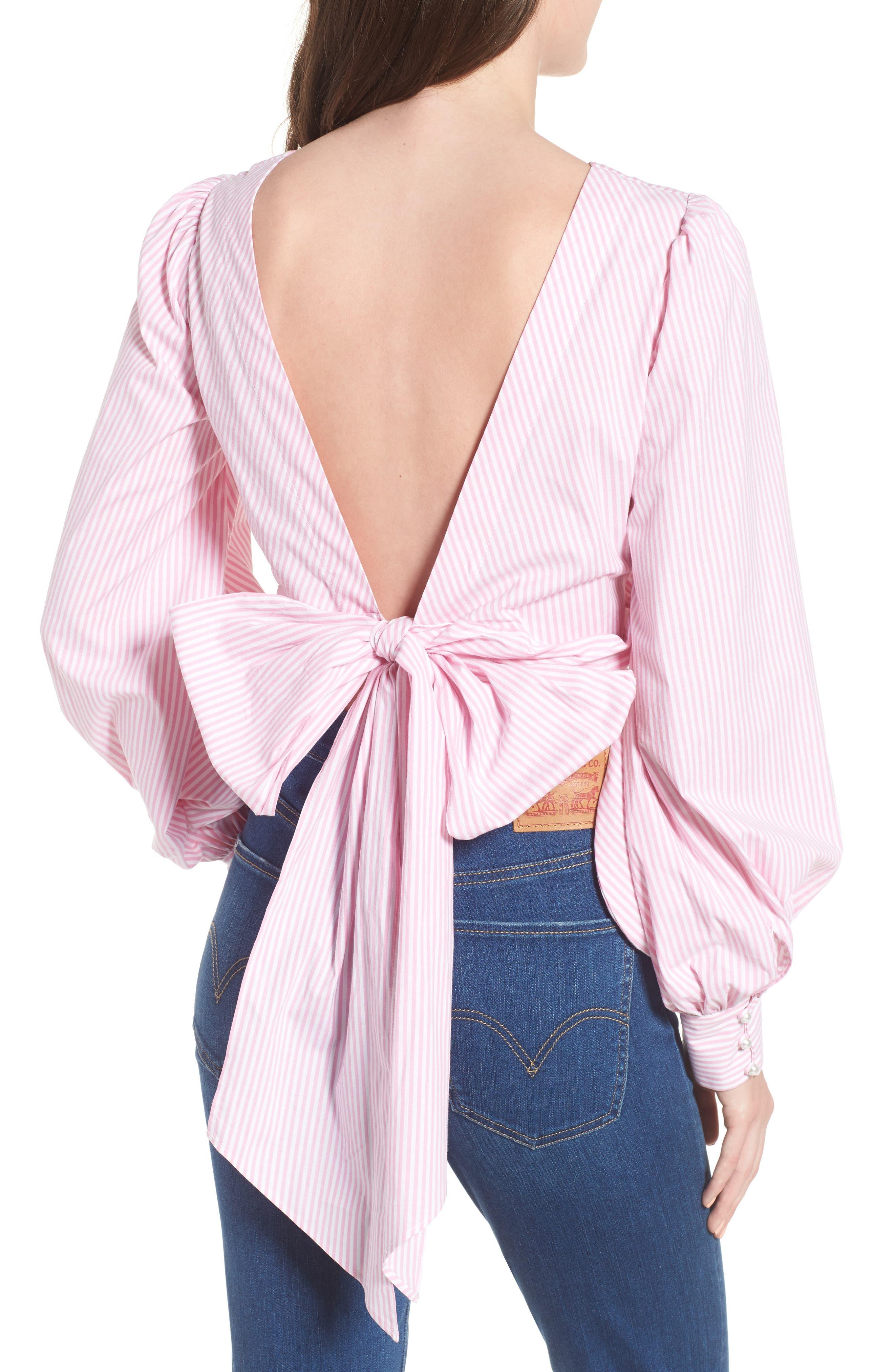 Dayna Tie Back Poplin Top,                             Alternate thumbnail 4, color,                             Pink Stripe