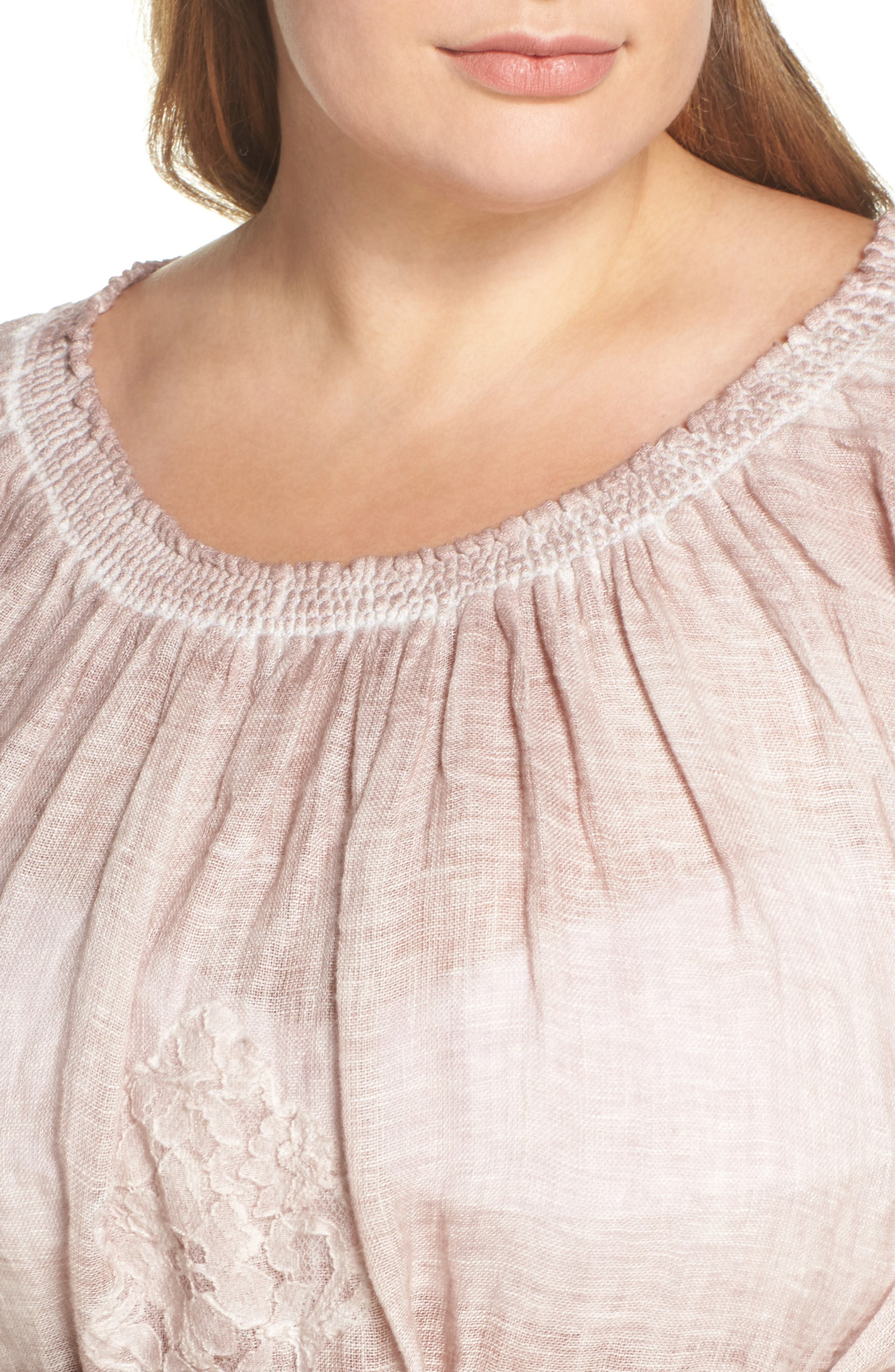 Daisy Linen Cover-Up Dress,                             Alternate thumbnail 4, color,                             Dusty Pink