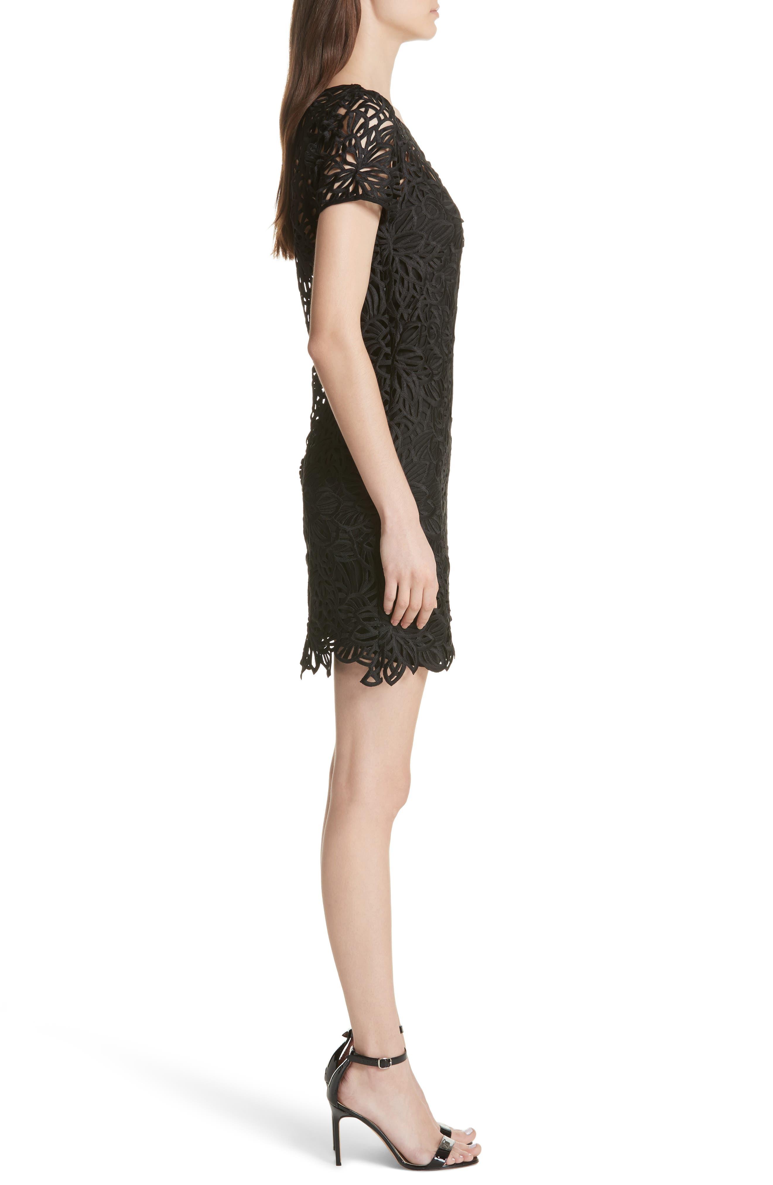 Chloe Lace Shift Dress,                             Alternate thumbnail 3, color,                             Black