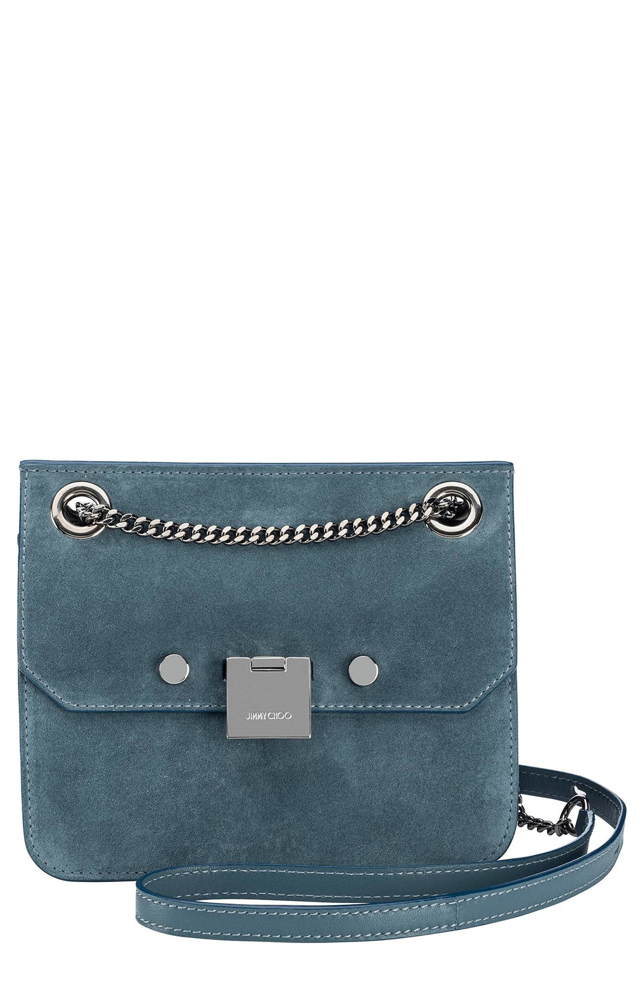 Rebel Suede Crossbody Bag,                             Main thumbnail 1, color,                             Dusk Blue