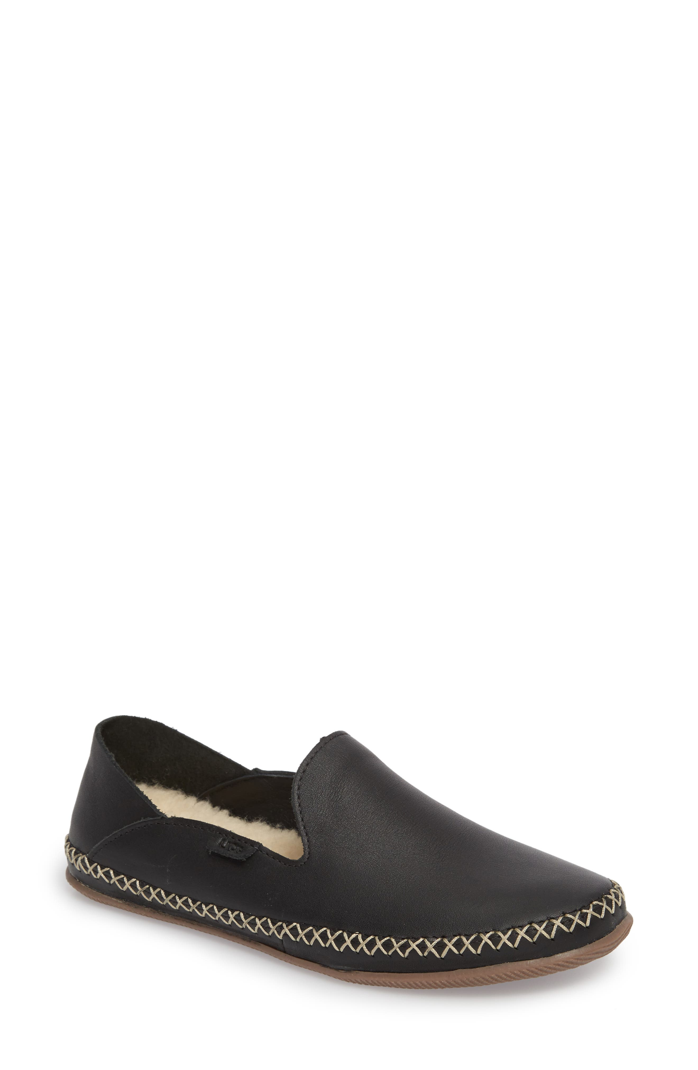 Elodie Flat,                             Main thumbnail 1, color,                             Black Leather
