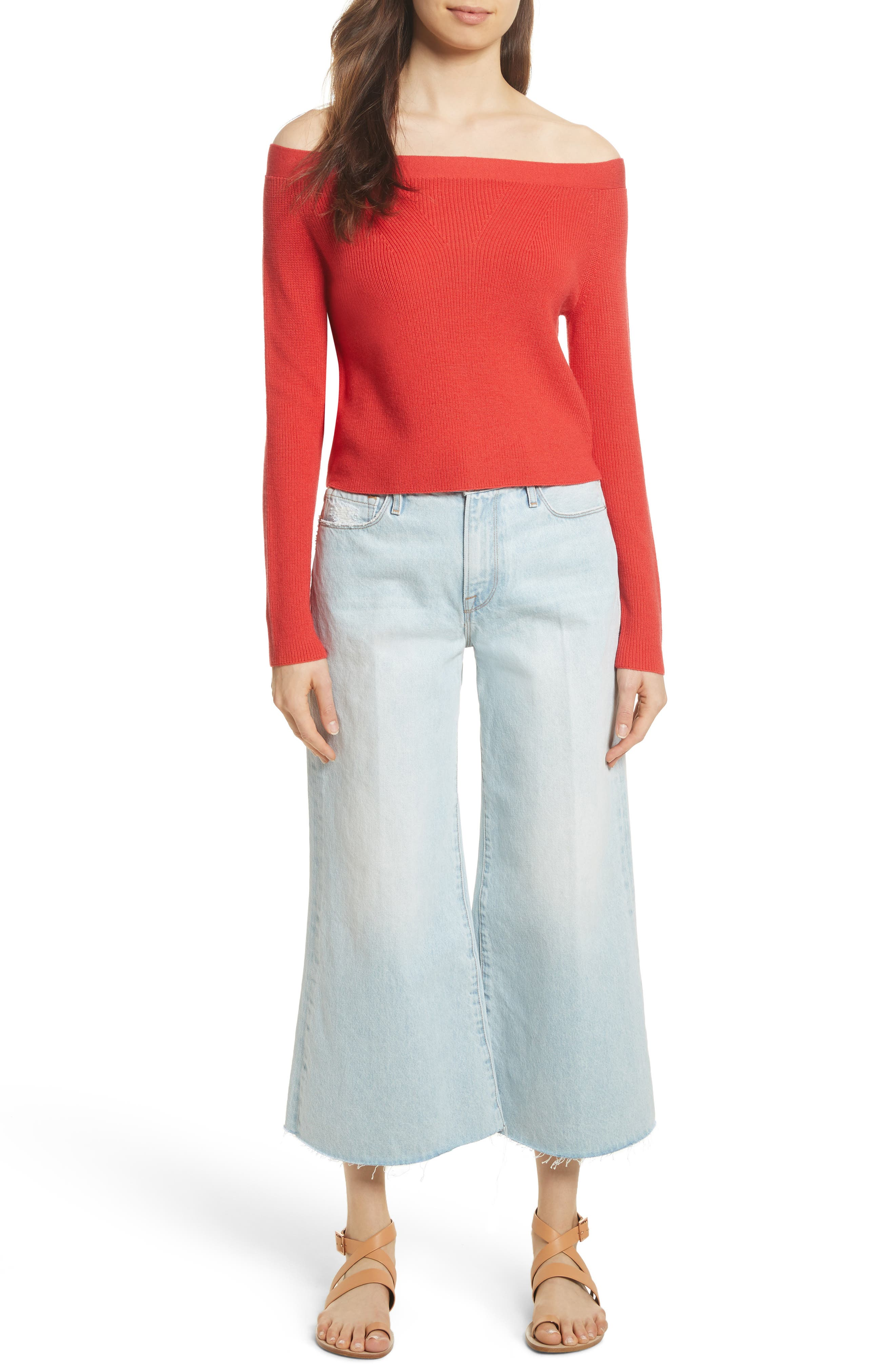 Off the Shoulder Crop Sweater,                             Alternate thumbnail 7, color,                             Summer Red
