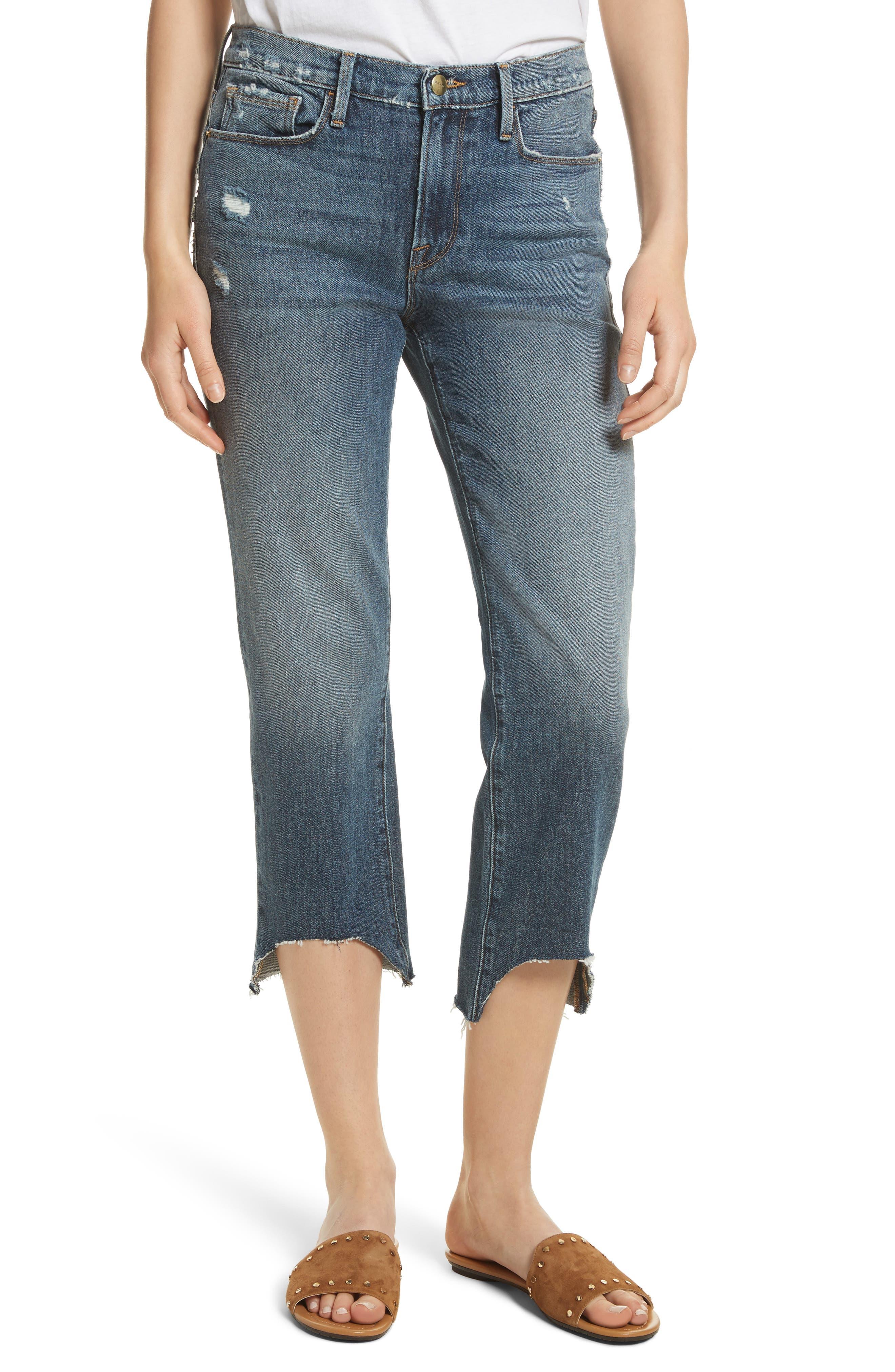 Le Nouveau Scoop Hem Ankle Straight Leg Jeans,                             Main thumbnail 1, color,                             Candover