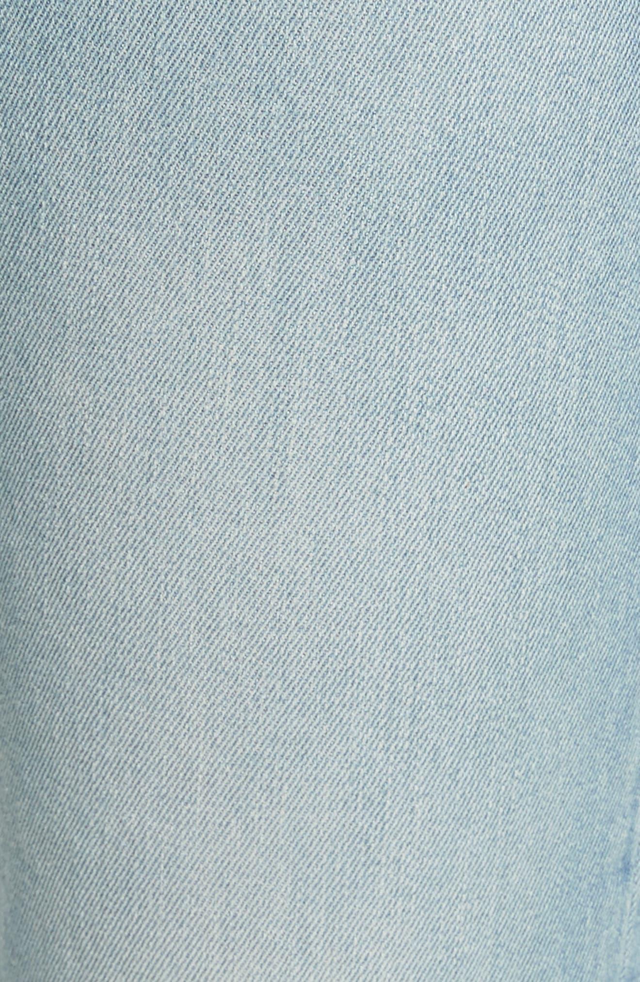 Le Boy High Waist Raw Hem Jeans,                             Alternate thumbnail 5, color,                             Pamder End
