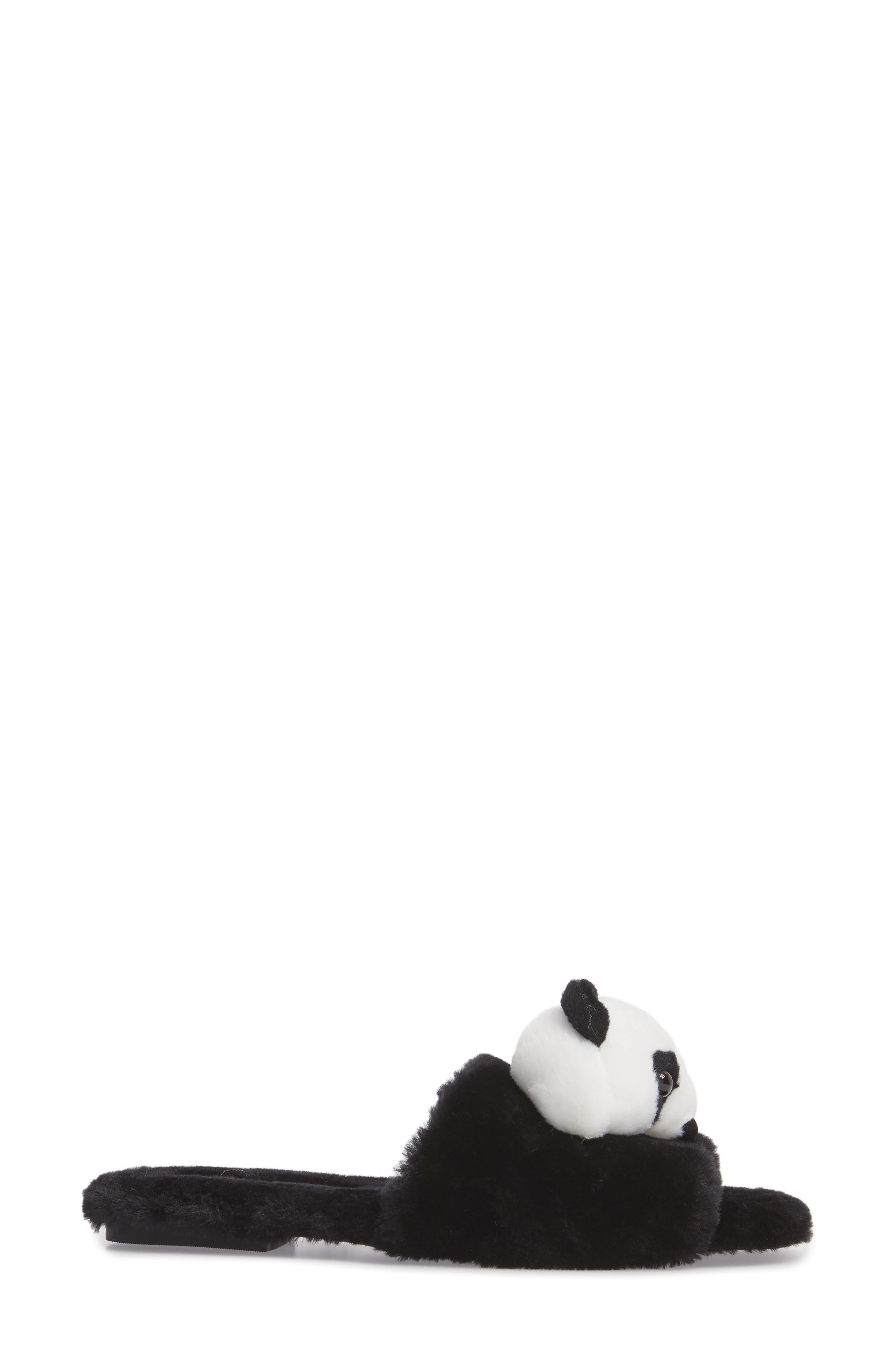 Plush Animal Slipper,                             Alternate thumbnail 3, color,                             Black Faux Fur
