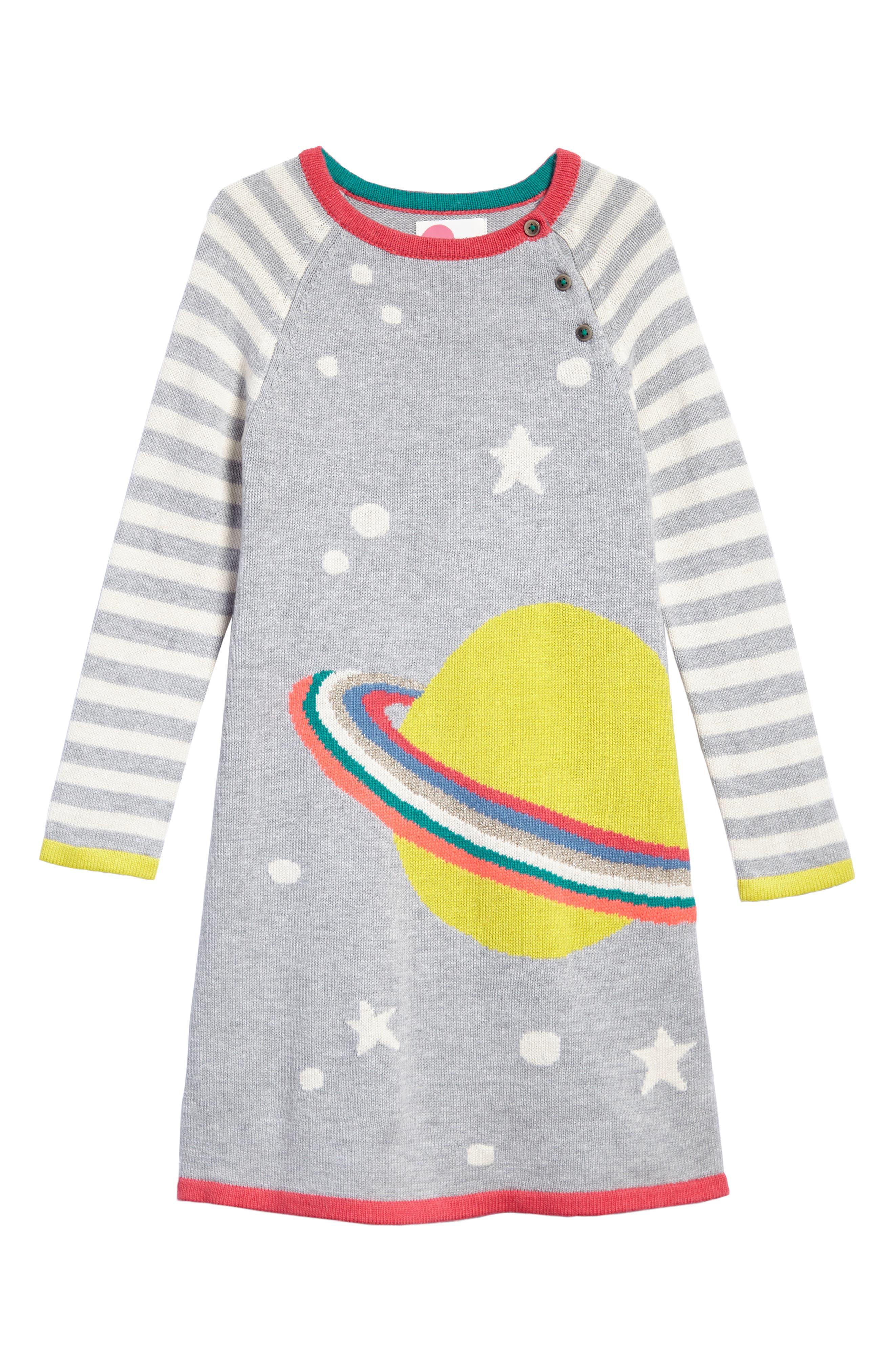 Fun Knit Dress,                         Main,                         color, Grey Marl Stripe Planet