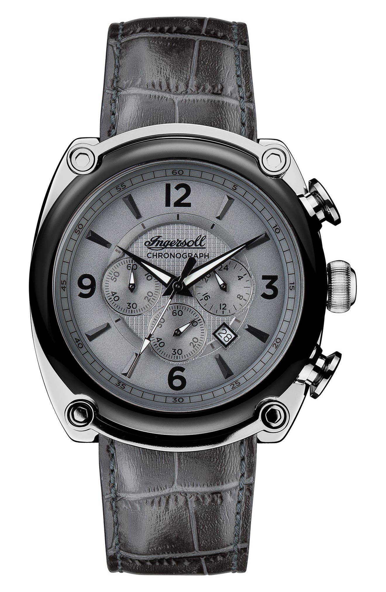 Alternate Image 1 Selected - Ingersoll Michigan Leather Strap Chronograph Watch, 45mm