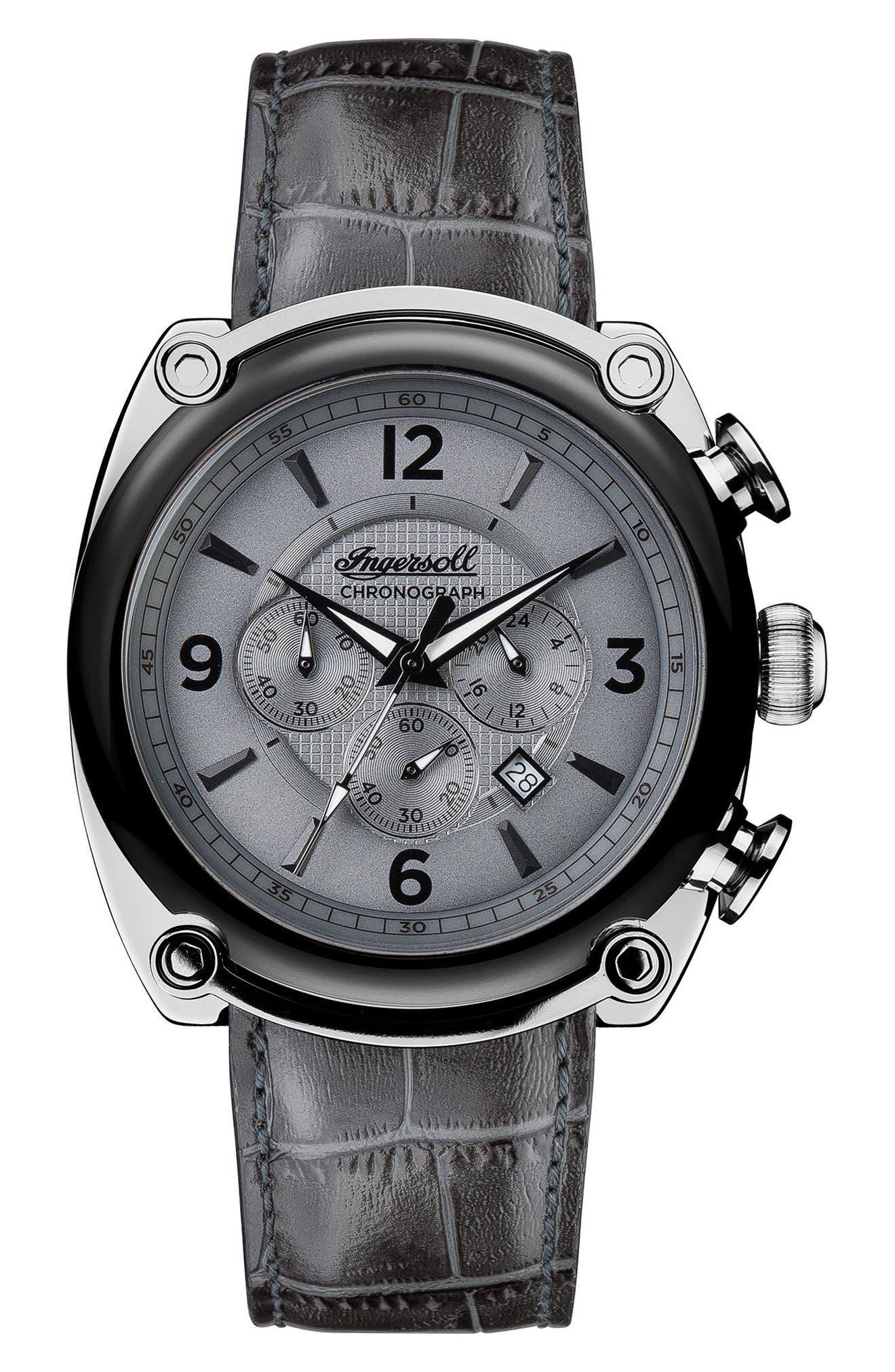 Ingersoll Michigan Leather Strap Chronograph Watch, 45mm,                         Main,                         color, Grey/ Gunmetal/ Black