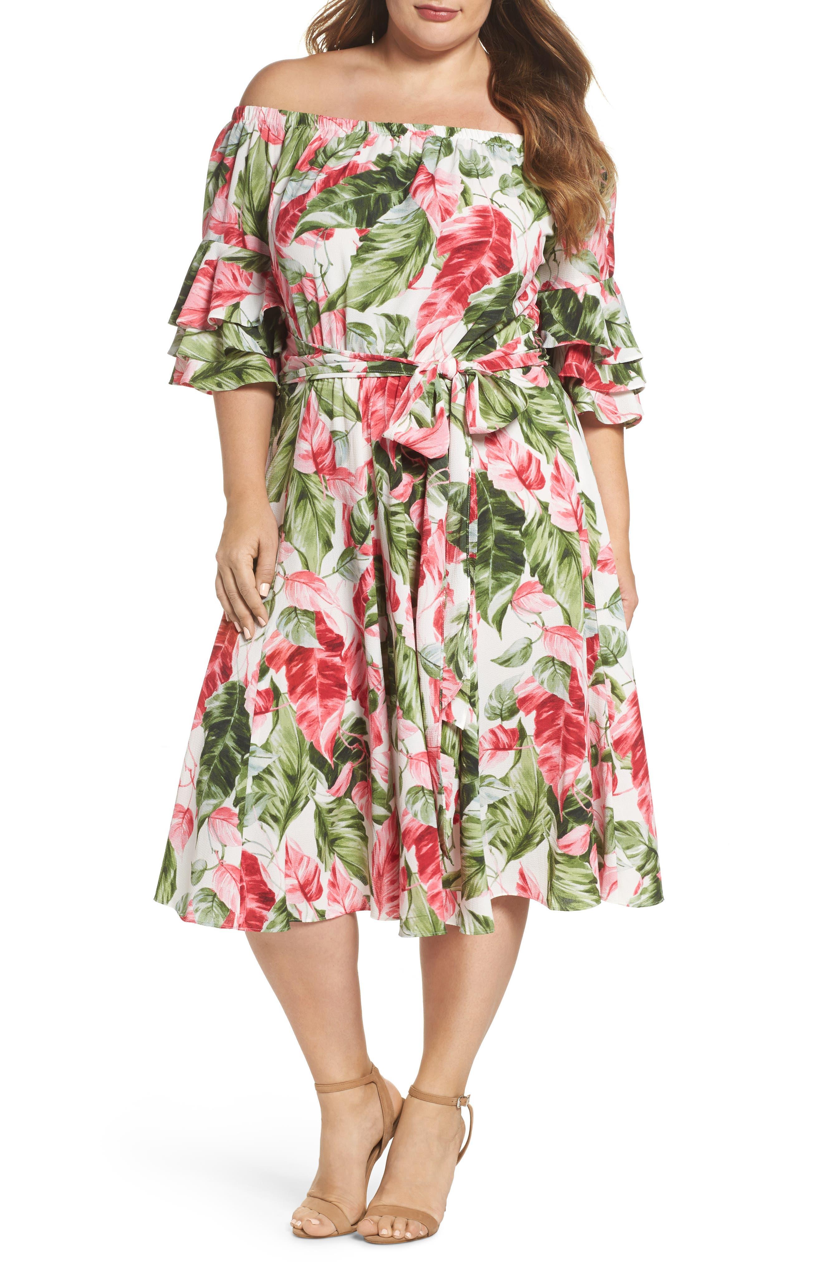 Off the Shoulder Floral Midi Dress,                         Main,                         color, Green/ Pink