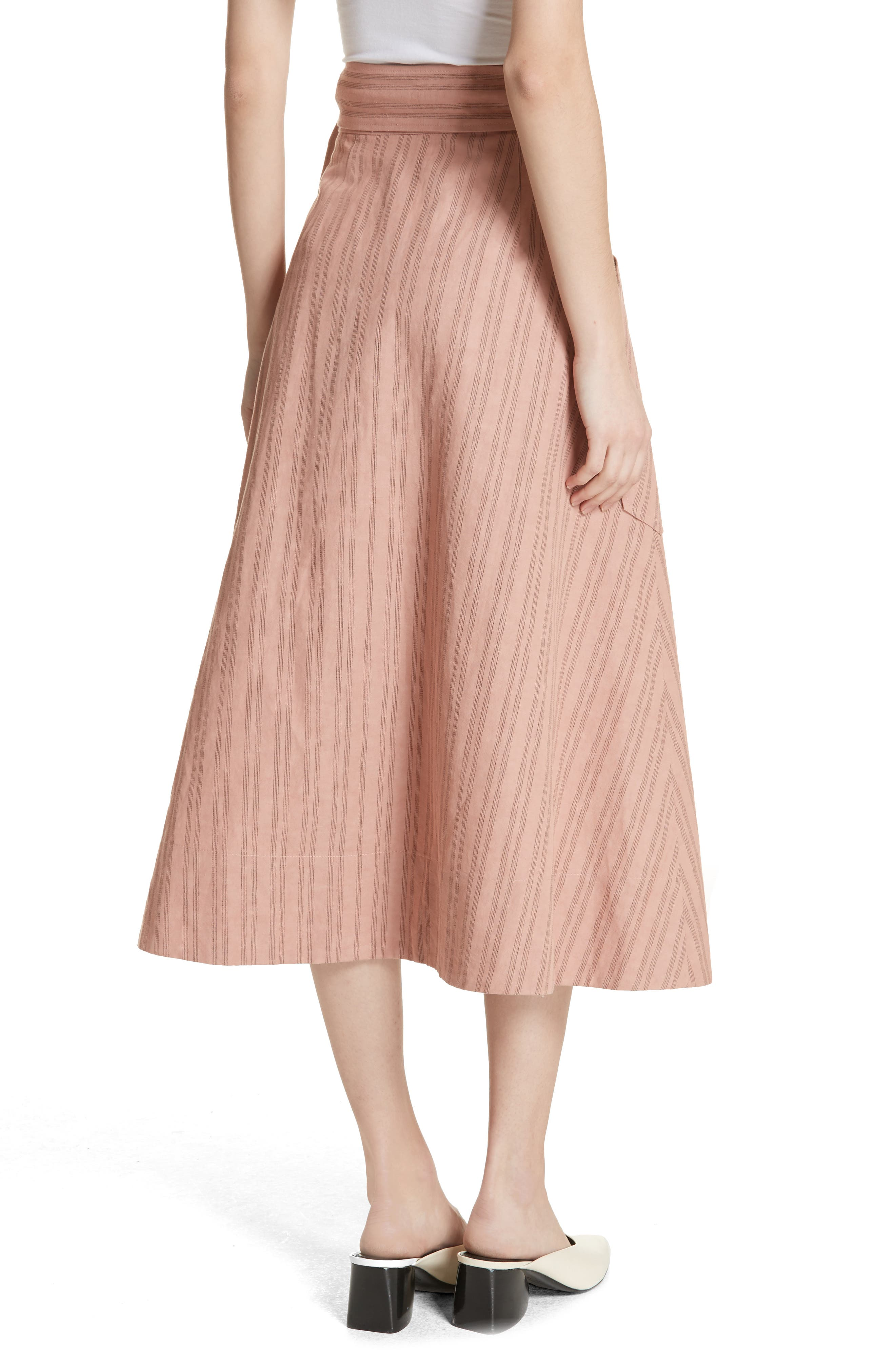 Stripe Wrap Midi Skirt,                             Alternate thumbnail 2, color,                             Rose Hip/ Black