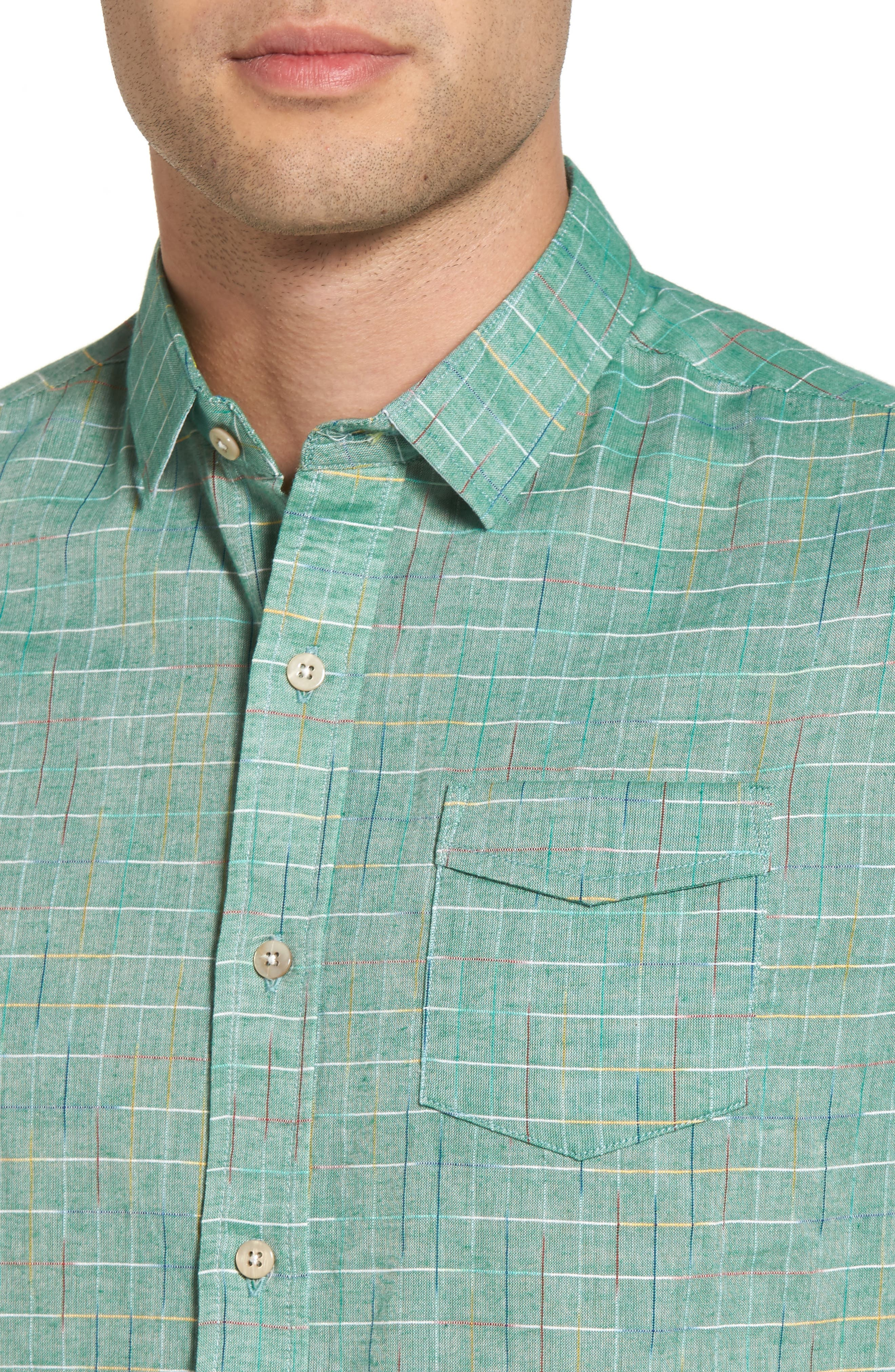 Space Plaid Sport Shirt,                             Alternate thumbnail 2, color,                             Green Bay
