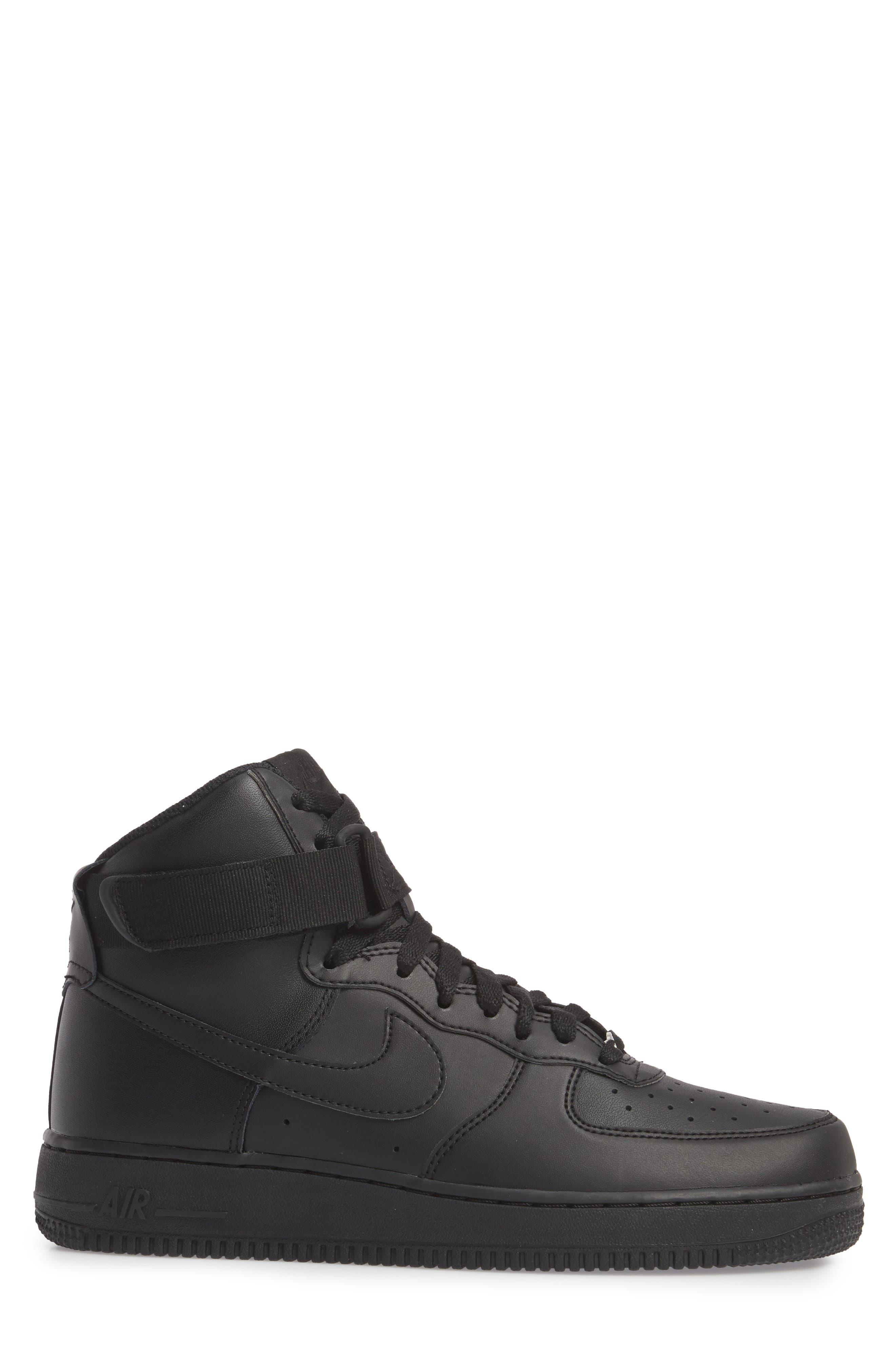 Air Force 1 High '07 Sneaker,                             Alternate thumbnail 3, color,                             Black/ Black