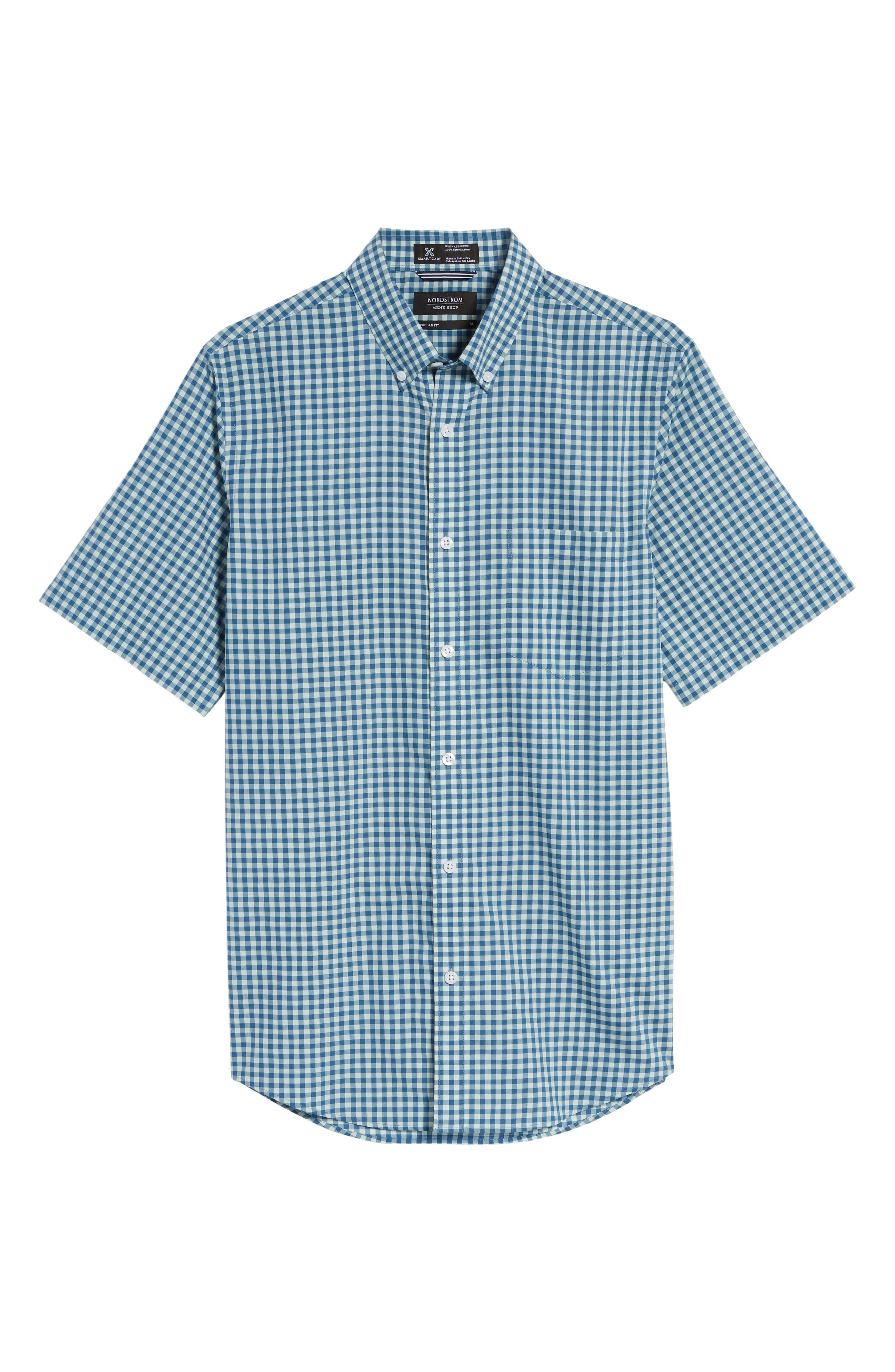 Regular Fit Gingham Sport Shirt,                             Alternate thumbnail 6, color,                             Teal Surf Blue Gingham