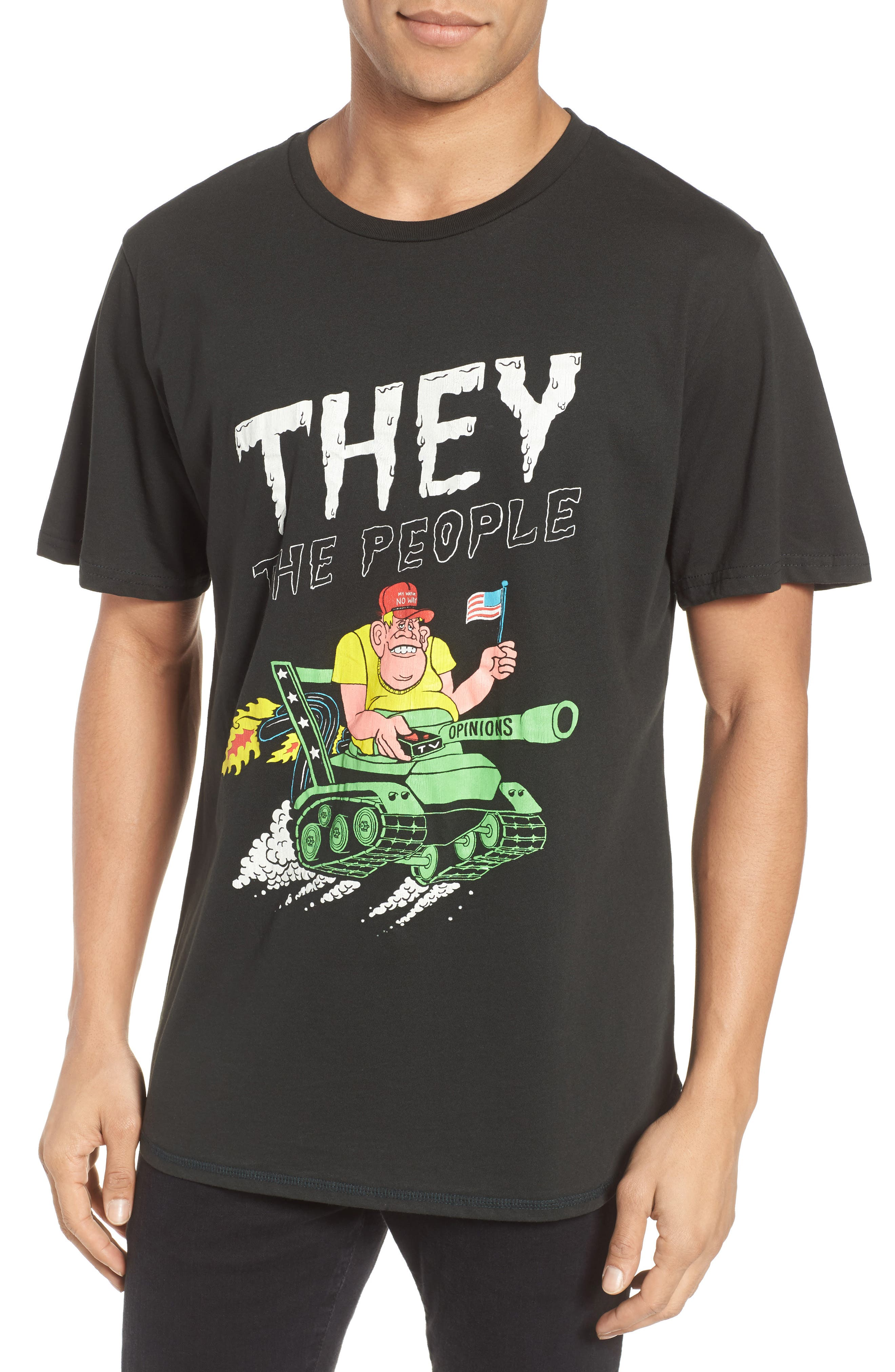 They The People Graphic T-Shirt,                             Main thumbnail 1, color,                             Neon On Dusty Black
