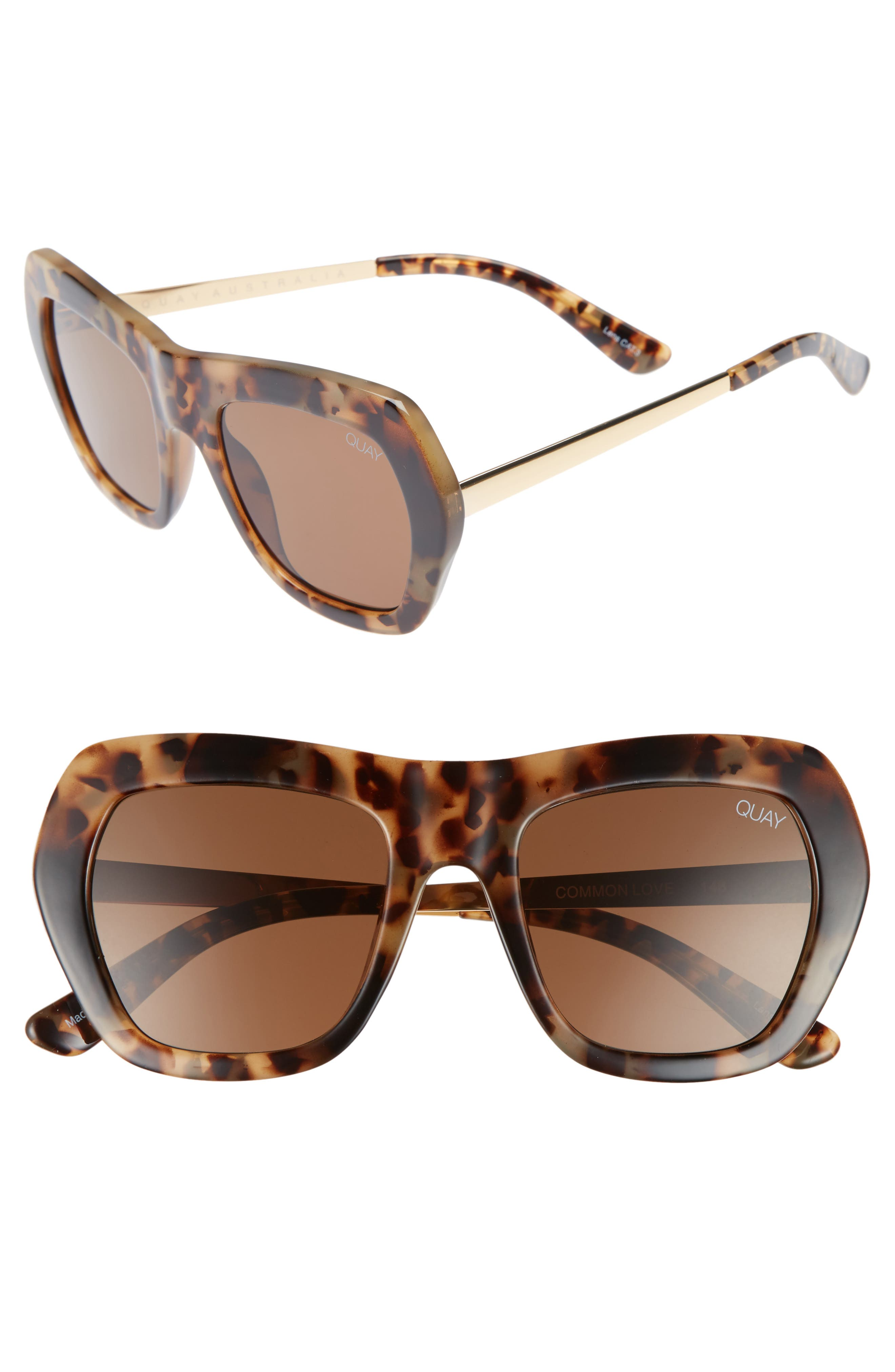 Common Love 53mm Square Sunglasses,                             Main thumbnail 1, color,                             Tort/ Brown