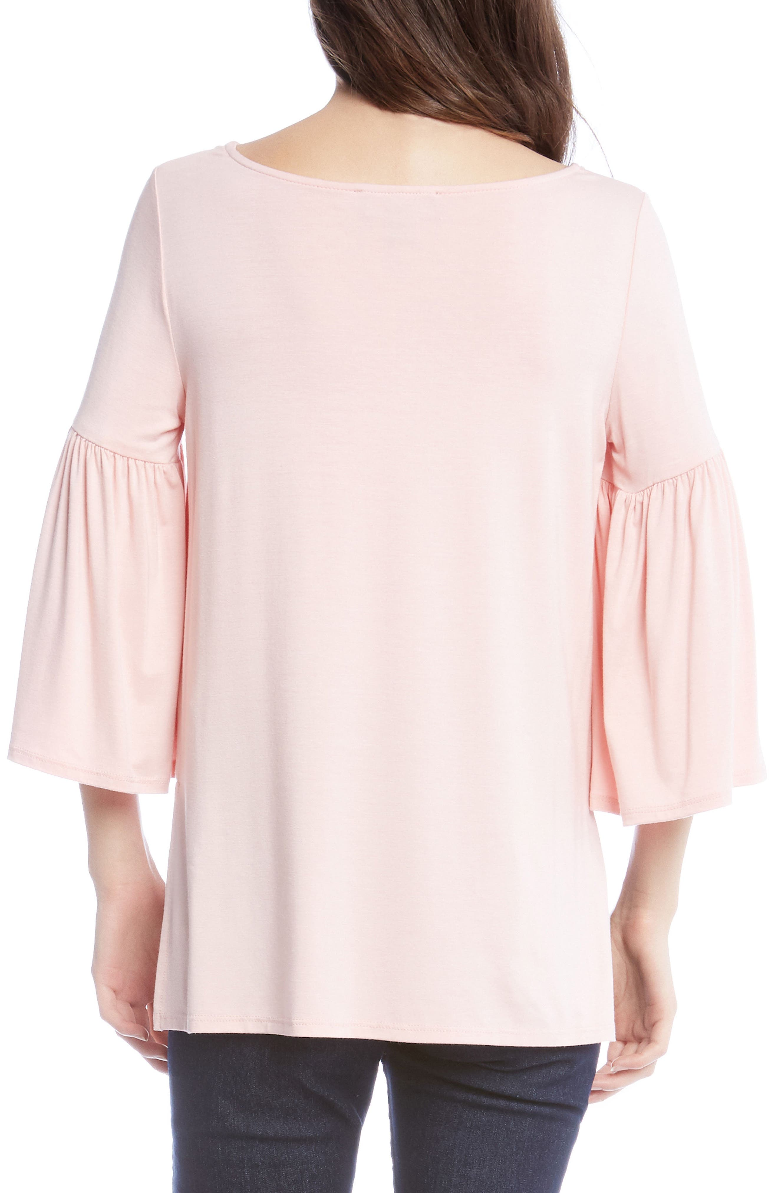 Bell Sleeve Side Slit Top,                             Alternate thumbnail 2, color,                             Rose