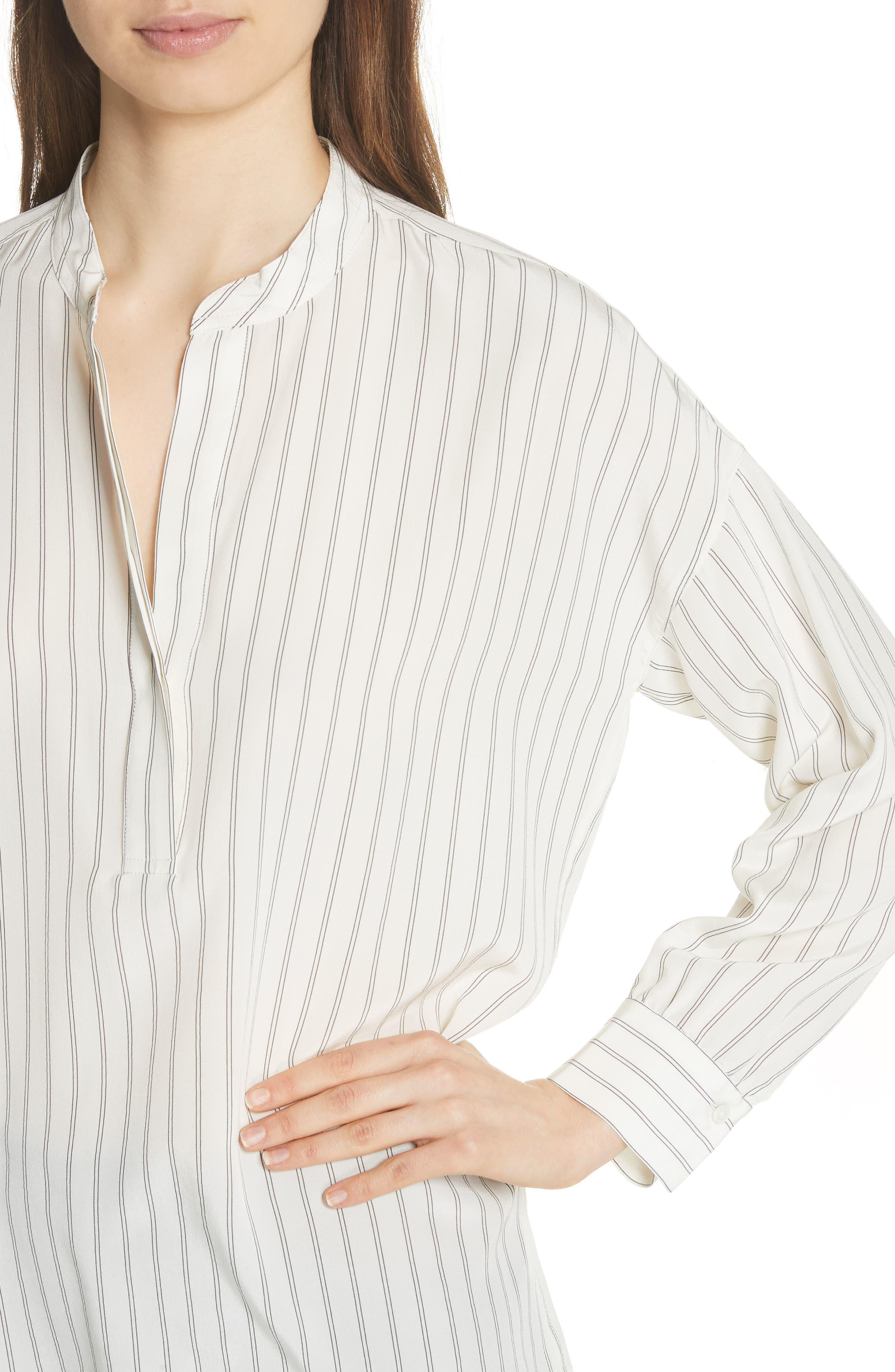 Double Stripe Silk Pullover,                             Alternate thumbnail 4, color,                             Cream
