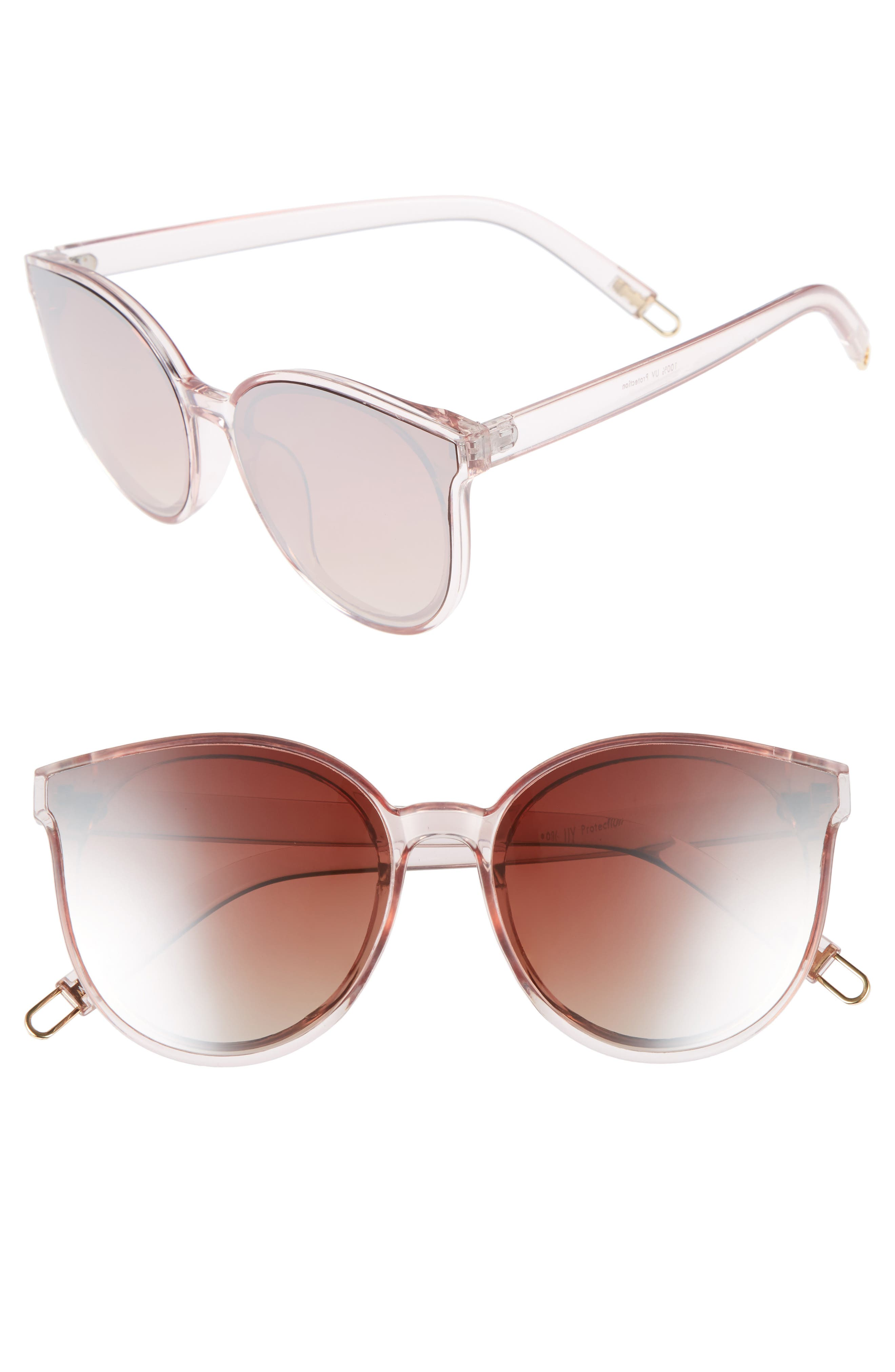 59mm Metal Tip Round Sunglasses,                         Main,                         color, Clear/ Pink