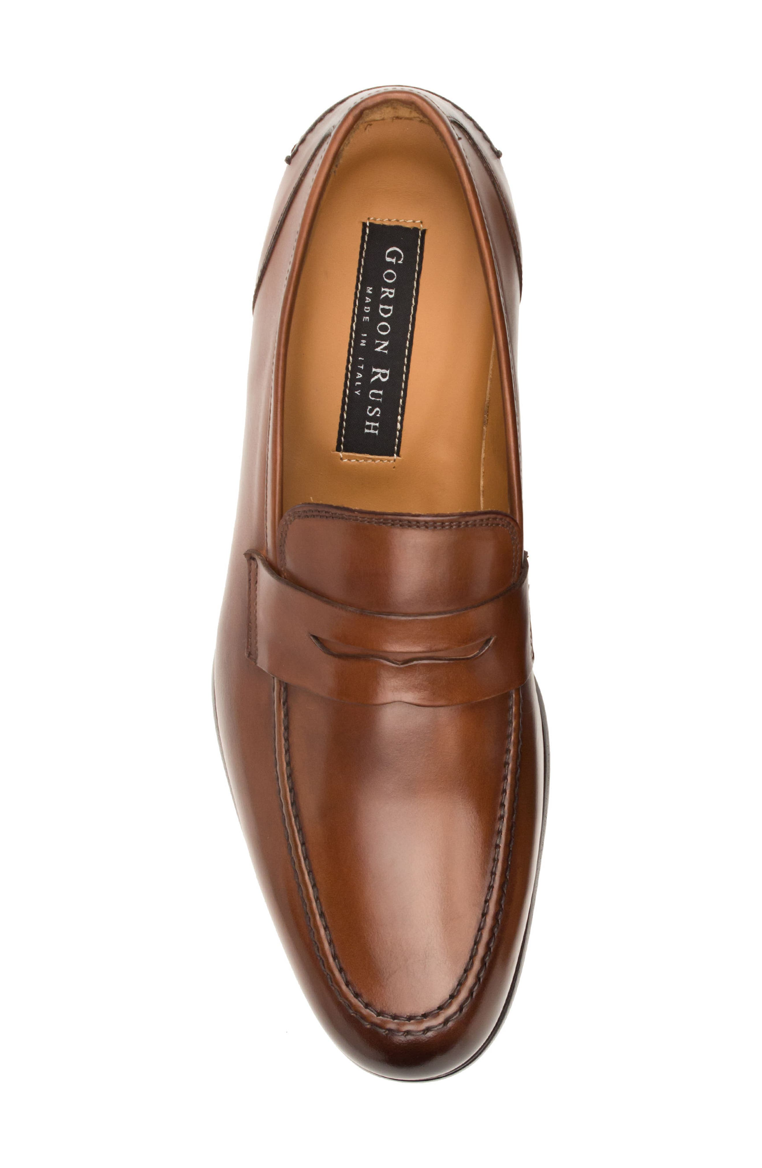 Coleman Apron Toe Penny Loafer,                             Alternate thumbnail 5, color,                             Tan Leather