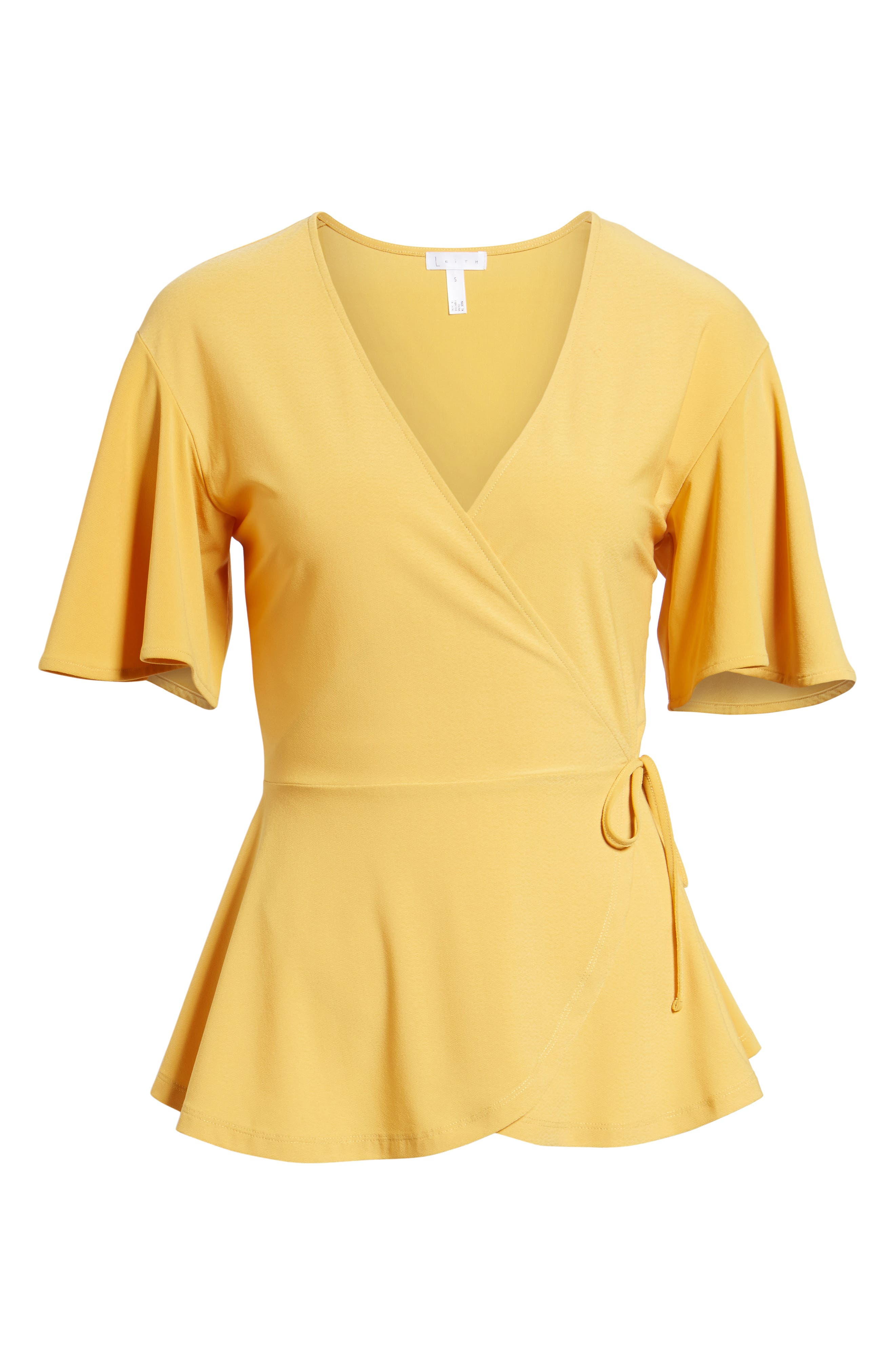 Flounce Sleeve Faux Wrap Top,                             Alternate thumbnail 6, color,                             Yellow Mineral
