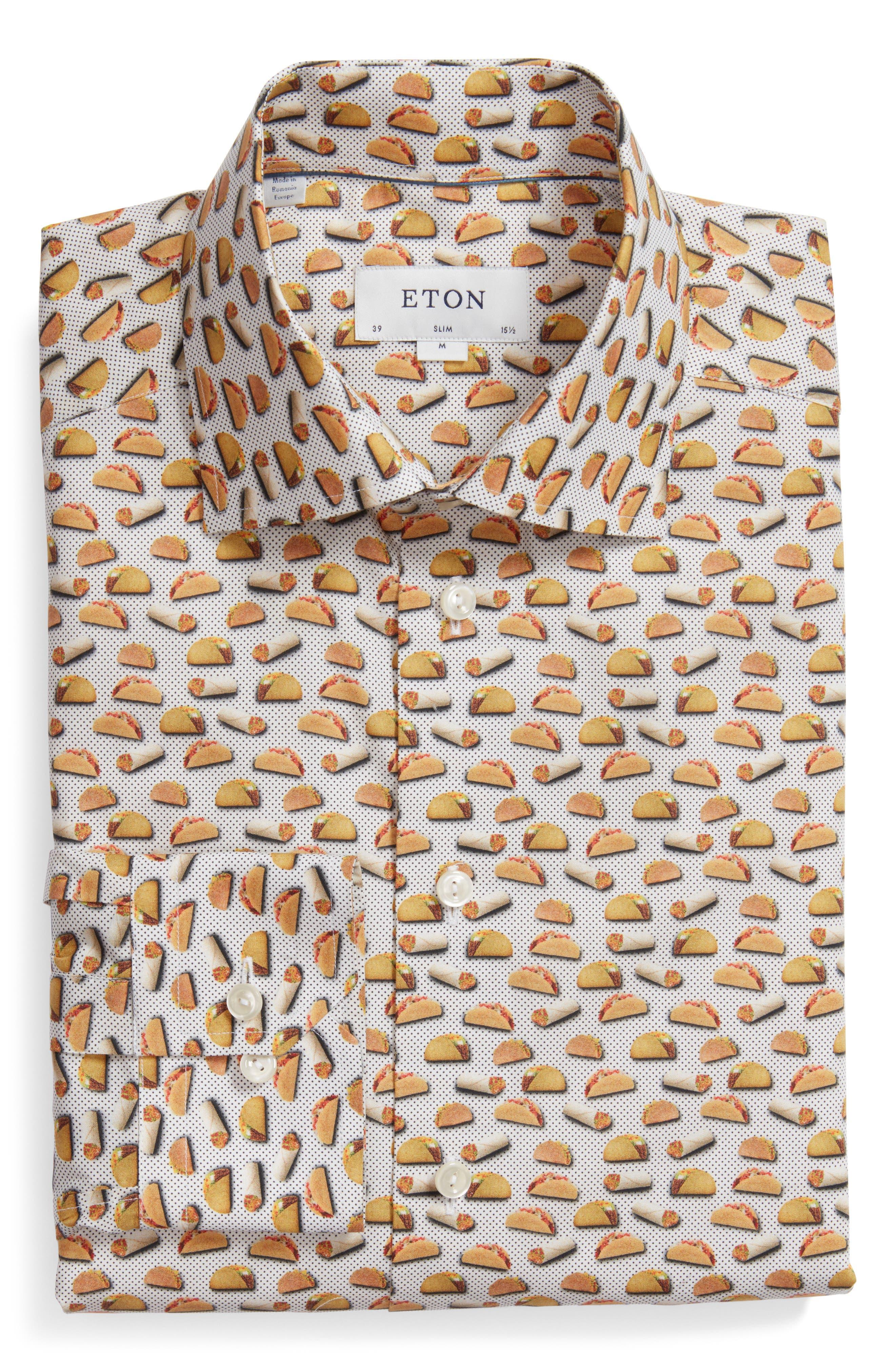 Eton Slim Fit Taco Print Dress Shirt