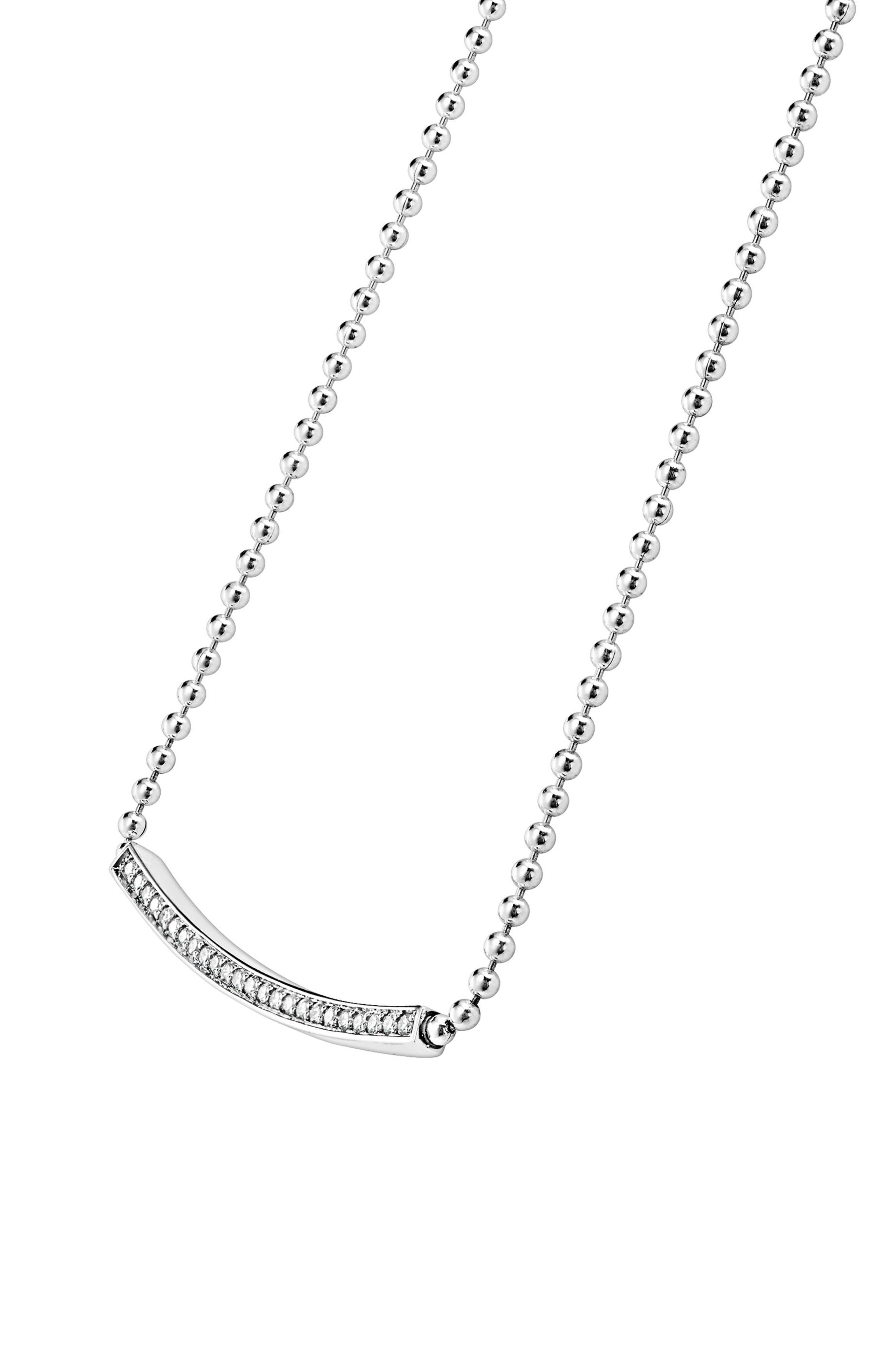 Caviar Spark Diamond Bar Necklace,                             Alternate thumbnail 4, color,                             Silver/ Diamond