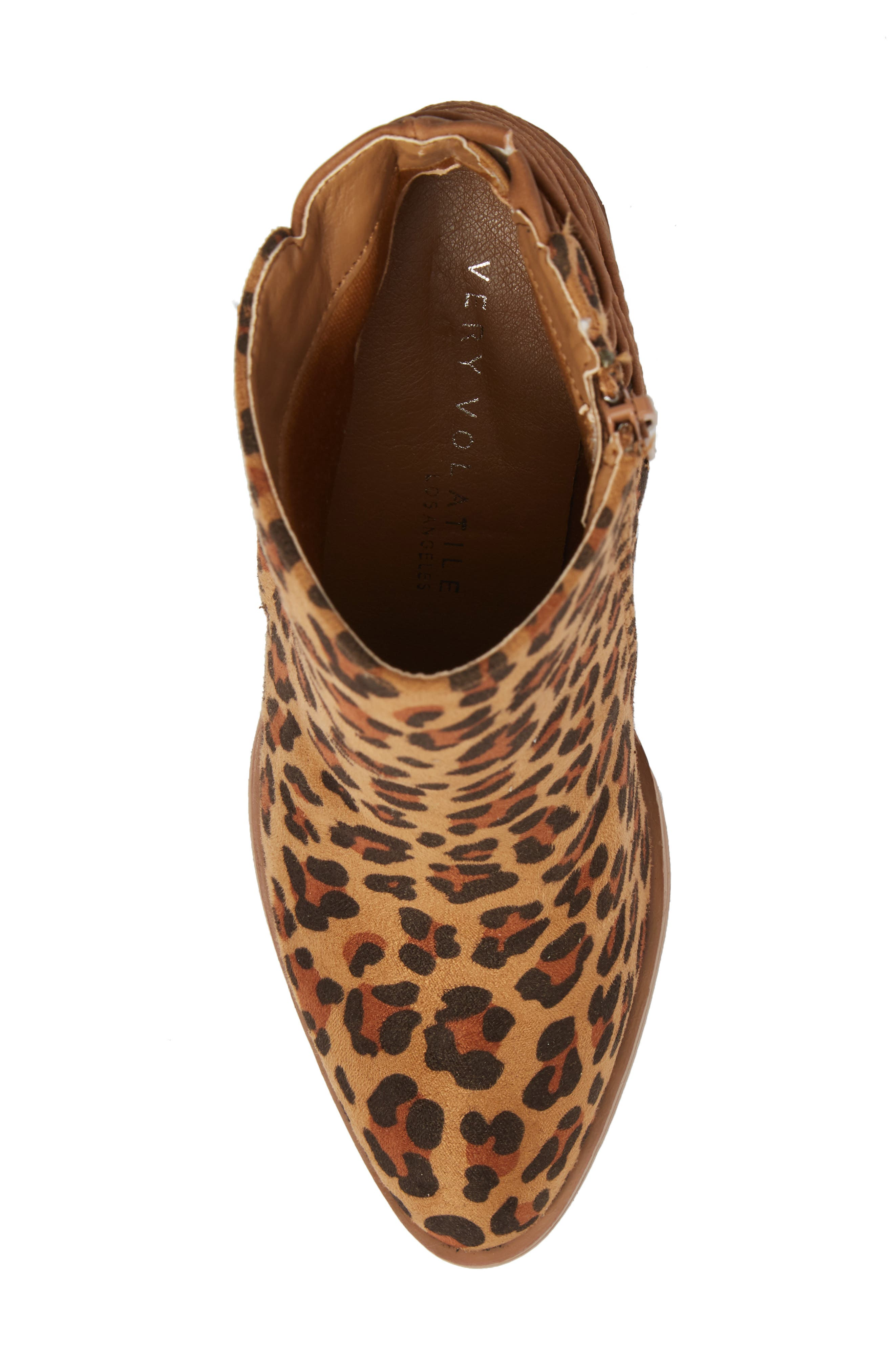 Lacey Leopard Bootie,                             Alternate thumbnail 5, color,                             Tan Leopard Suede Leather