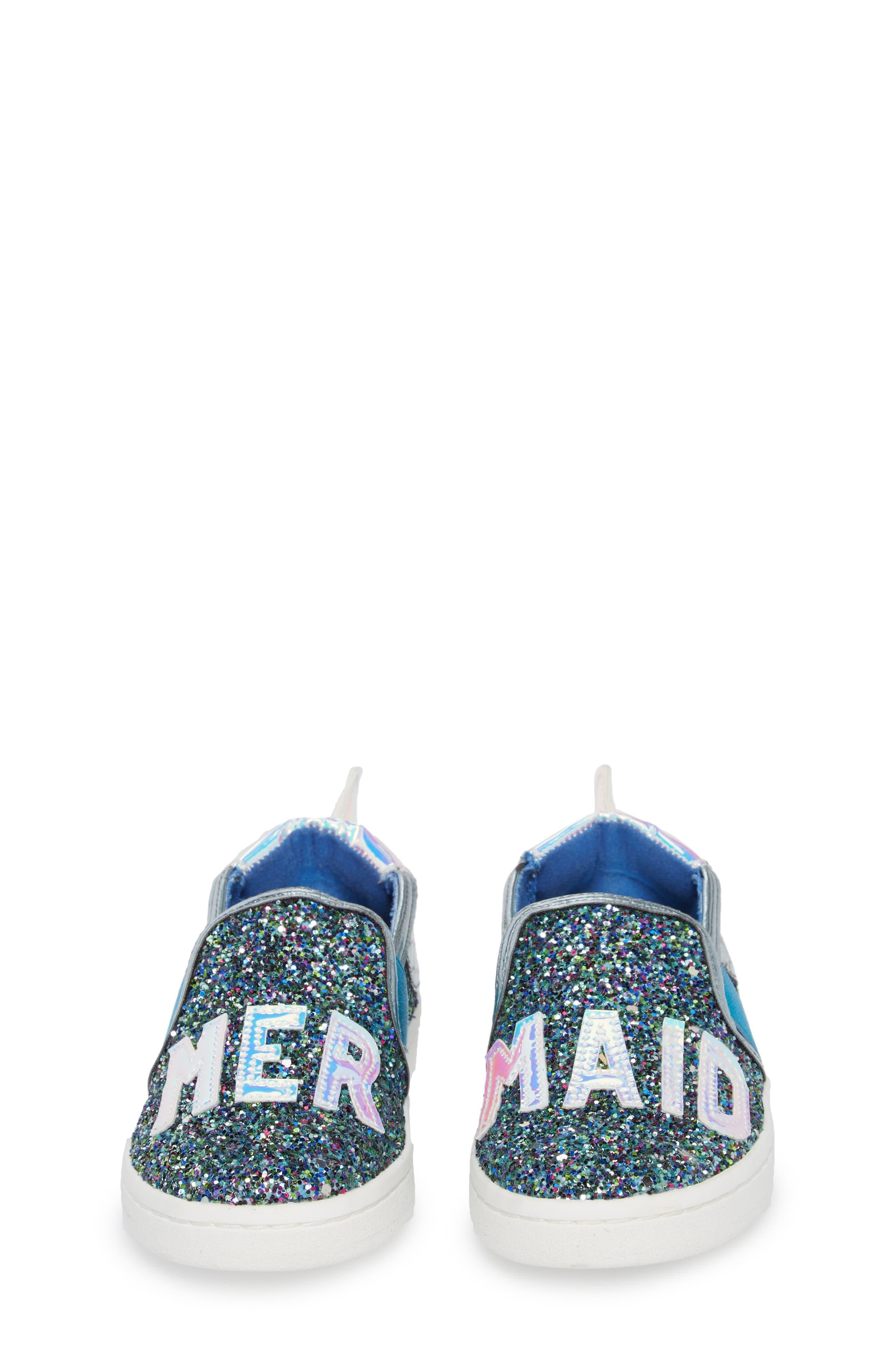 Blane Slip-On Sneaker,                             Alternate thumbnail 4, color,                             Blue Glitter