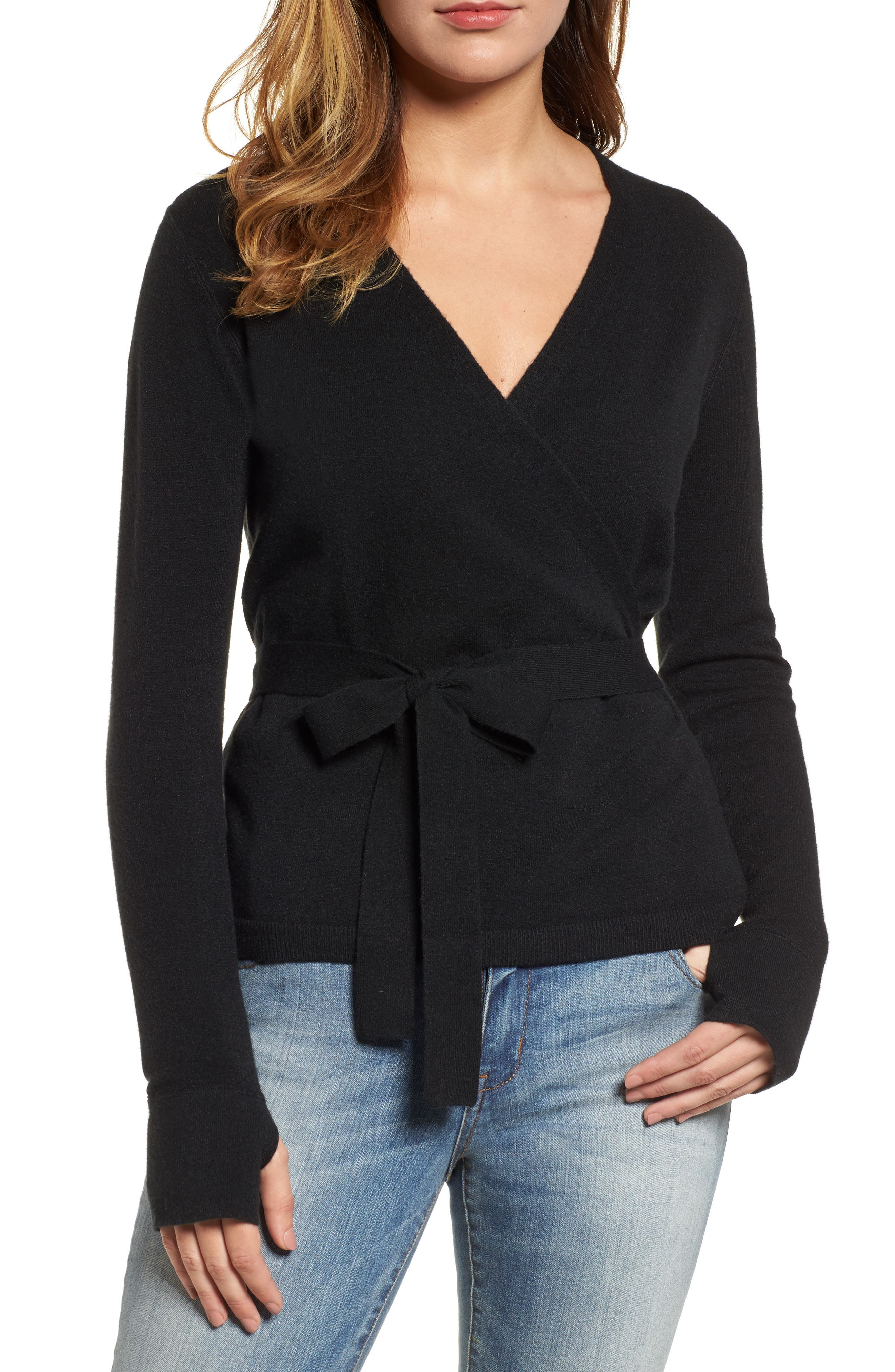 Off-Duty Ballet Tie Front Sweater,                         Main,                         color, Black
